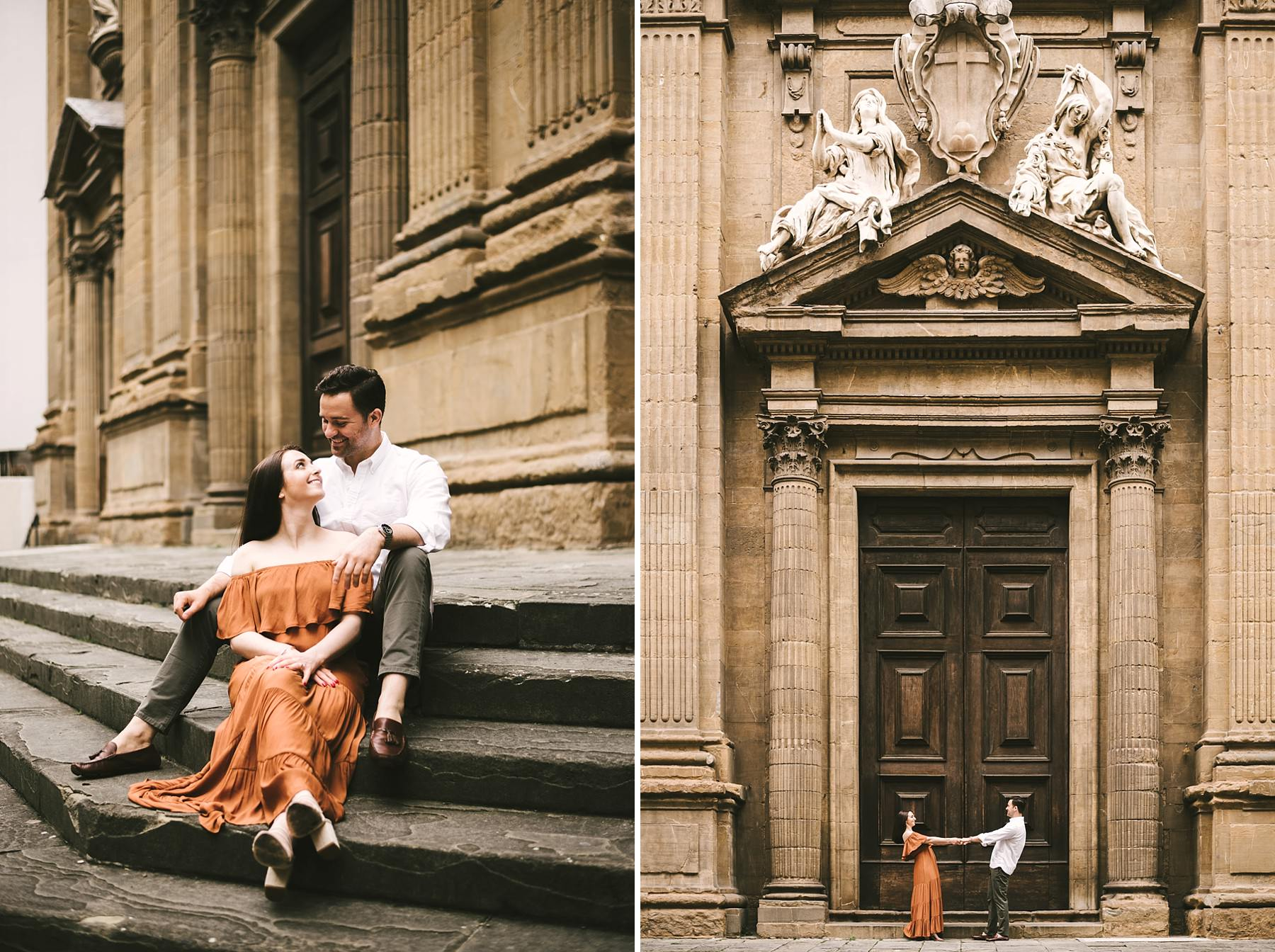 Relaxed and exciting sunrise engagement photo session near Via de Tornabuoni