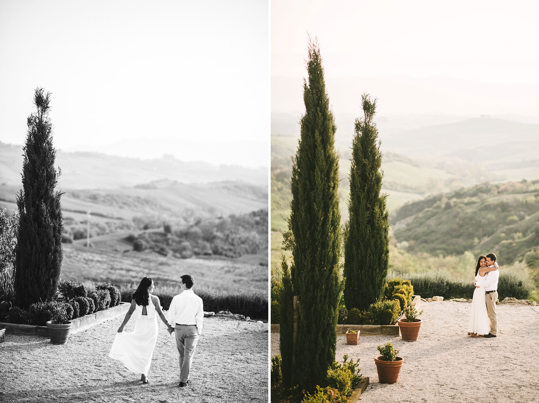 Romantic and elegant anniversary photo session in Tuscany countryside near the town of Iano