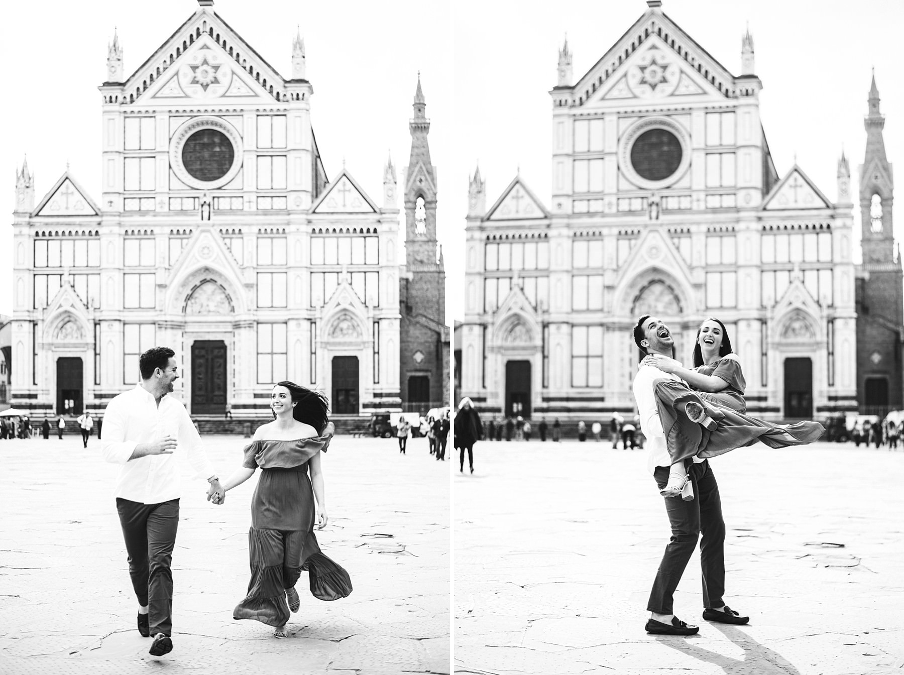 Lovely couple portrait at Santa Croce square in the heart of Florence at sunrise time