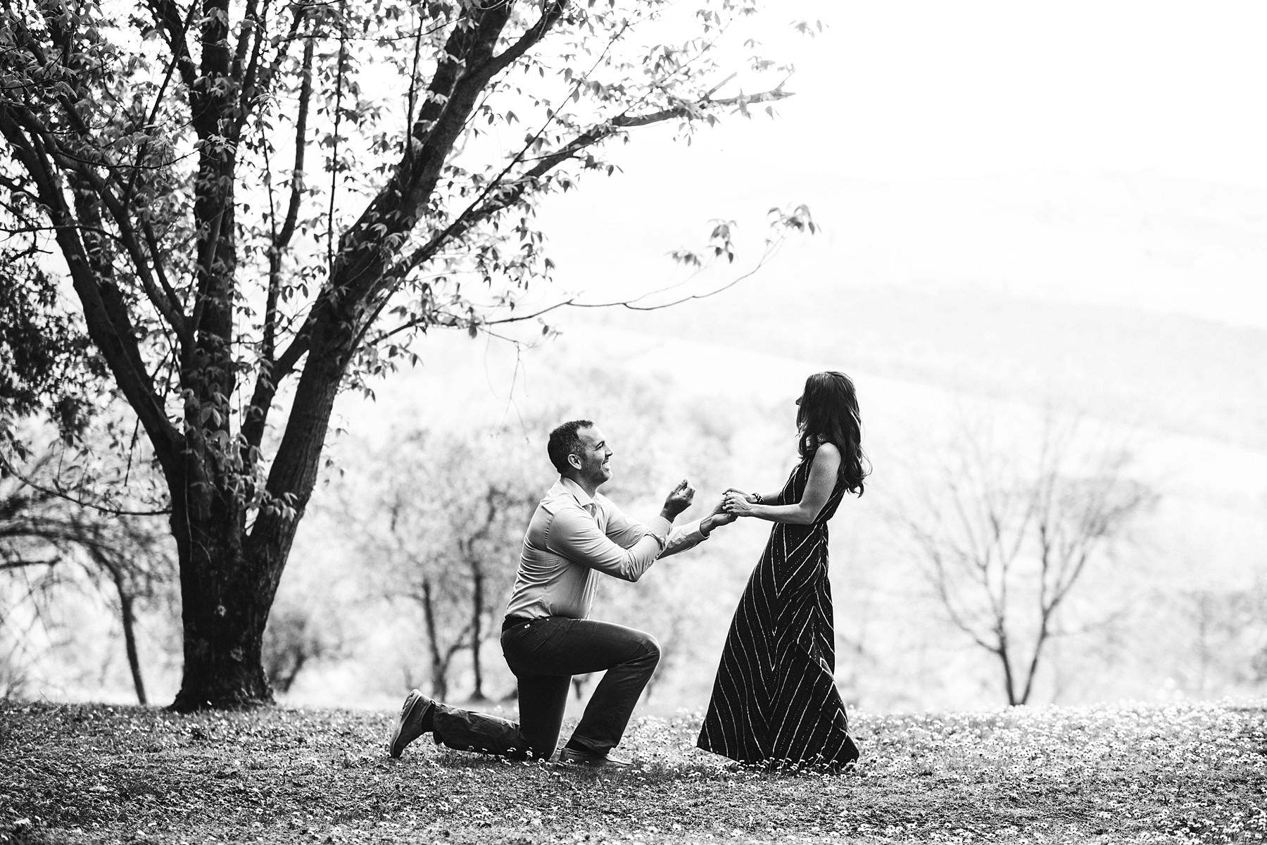 Unforgettable surprise proposal photo in Tuscany countryside at Tenuta Nozzole located in Chianti