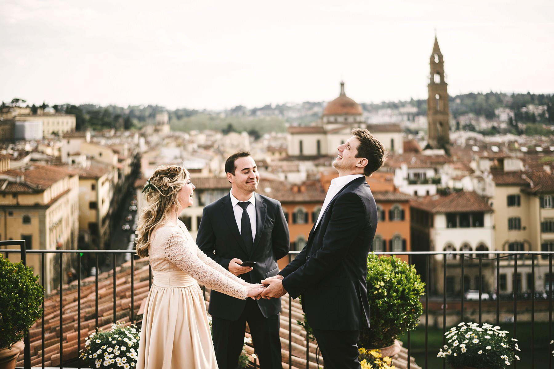 Lovely intimate vows renewal photo shoot in Florence at Antica Torre Tornabuoni a perfect location for intimate events with a breathtaking view of the city