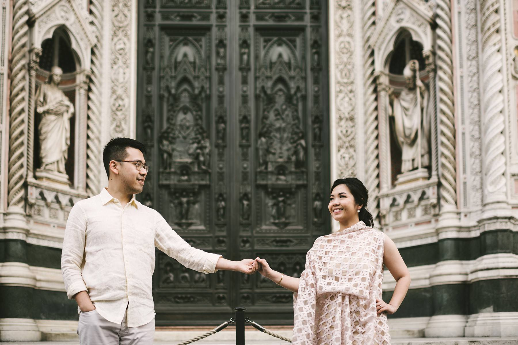 Lovely and romantic Asian couple engagement photo tour near Florentine Dome