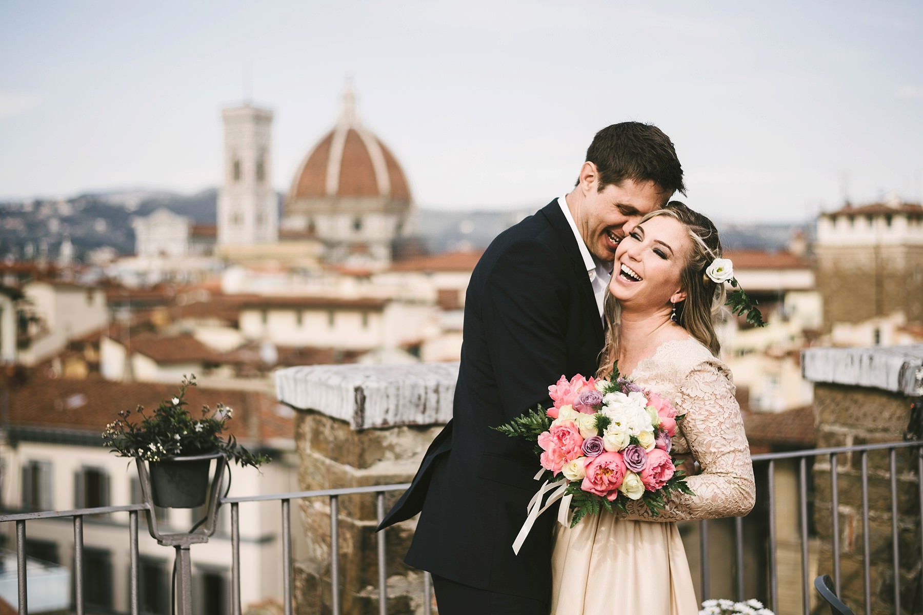 Lovely couple portrait photo in Florence at Antica Torre Tornabuoni