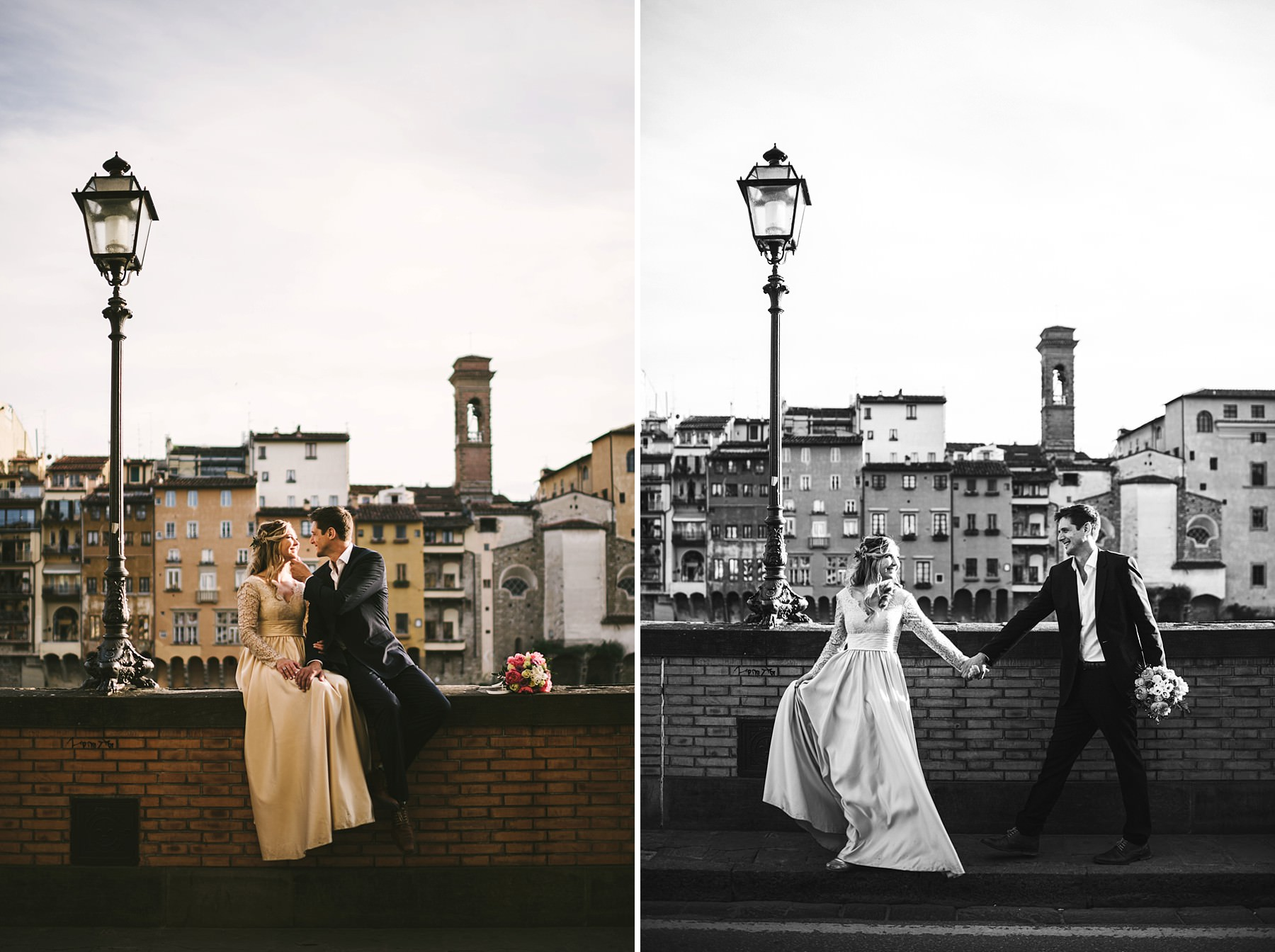 Dreamy and elegant couple portrait photo shoot with vows renewal in Florence near Palazzo Vecchio