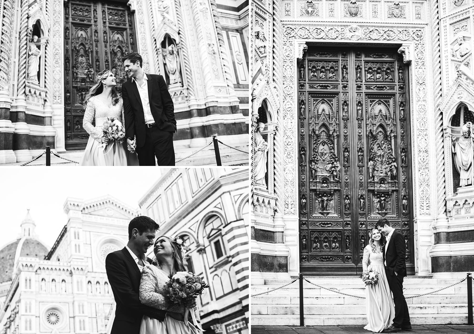 Lovely creative and modern couple portrait photo in Florence at Duomo square