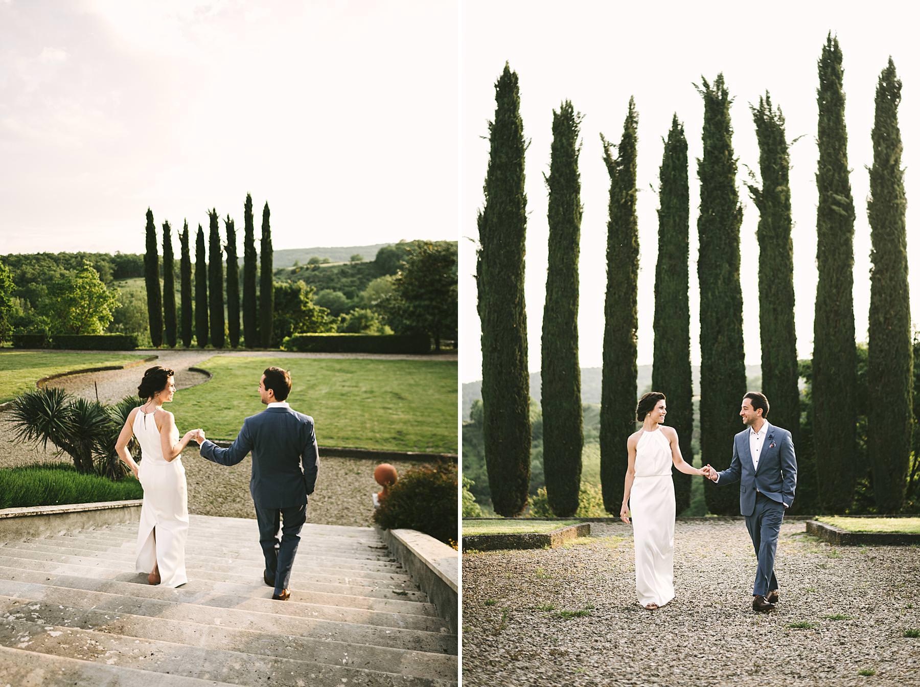 Romantic couple portrait pre-wedding photo session at Villa La Selva Wine Resort in Tuscany
