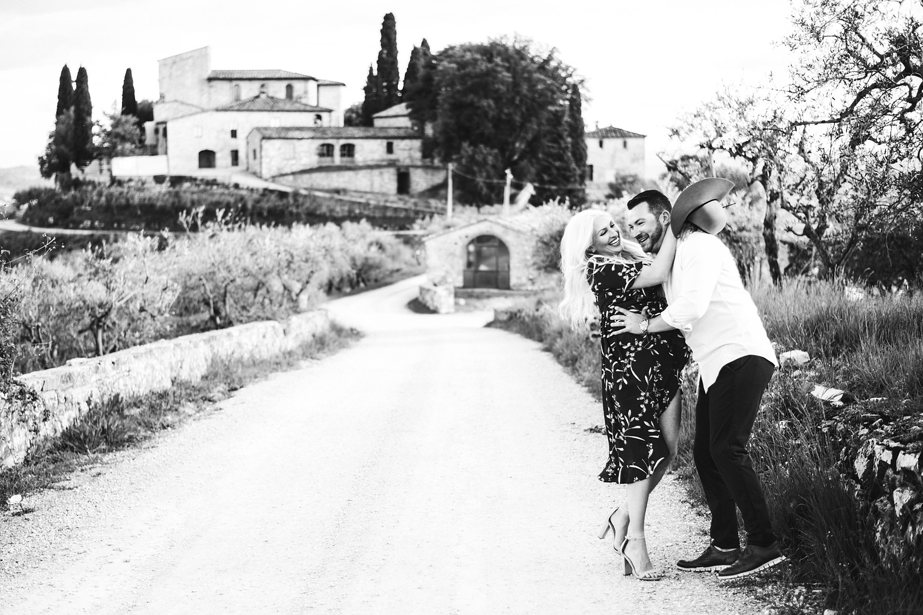 Exciting and unforgettable dreamiest honeymoon couple portrait photo session in Tuscany at charming Castello La Leccia venue
