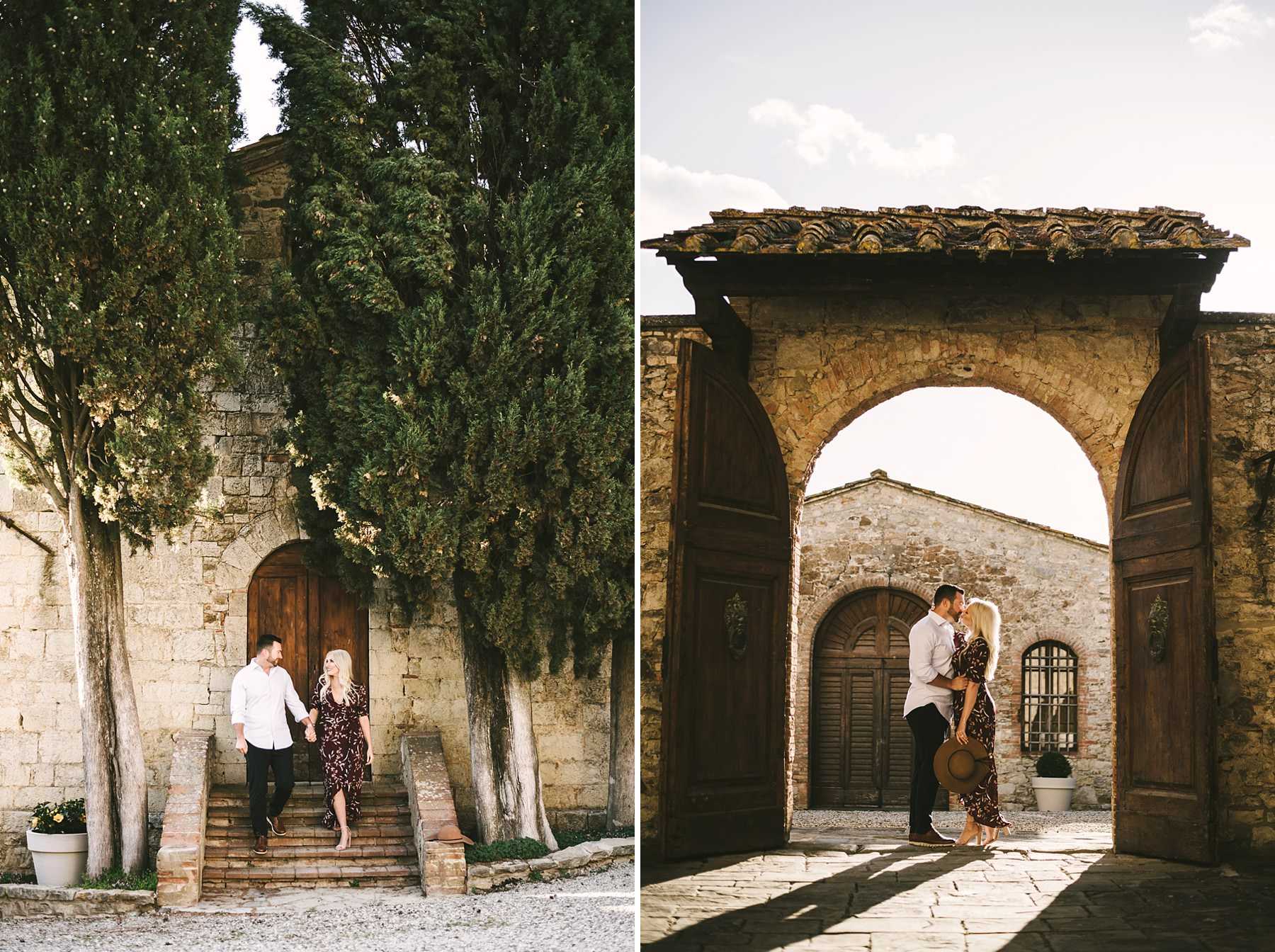 Lovely couple vacation photo session in Tuscany at the amazing location of Castello La Leccia