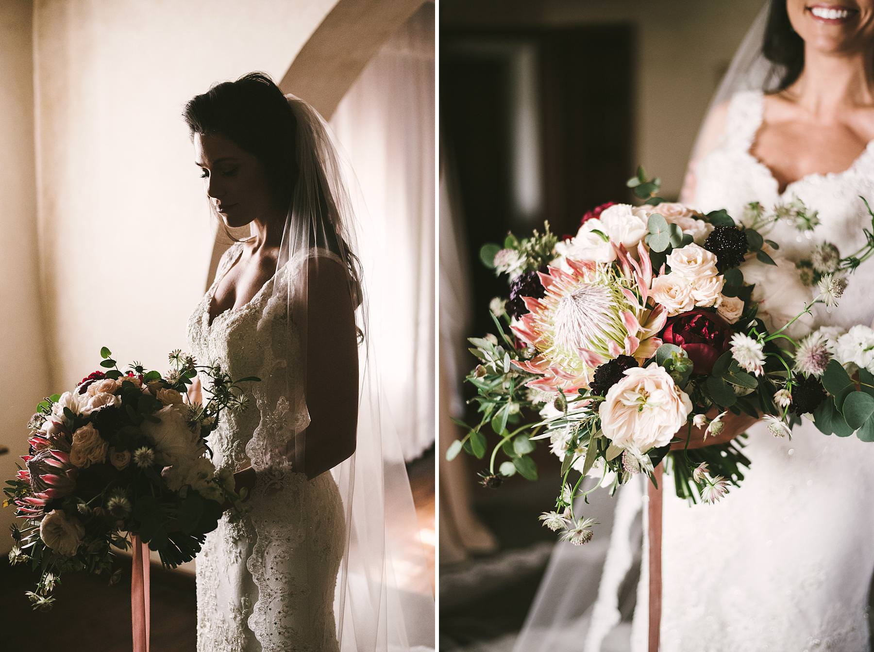 Lovely bride in Pronovias wedding gown with a beautiful Flowers Living elegant bouquet at historic estate of Villa La Selva Wine Resort in Tuscany