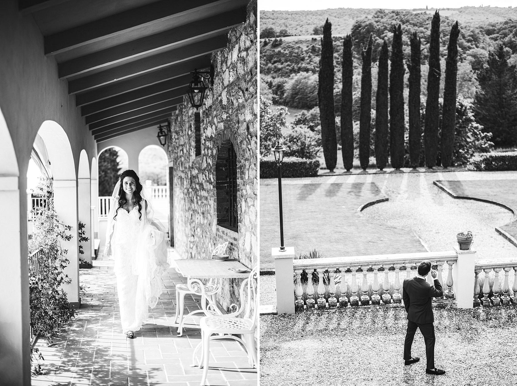 Unforgettable bride and groom first look at Villa La Selva Wine Resort