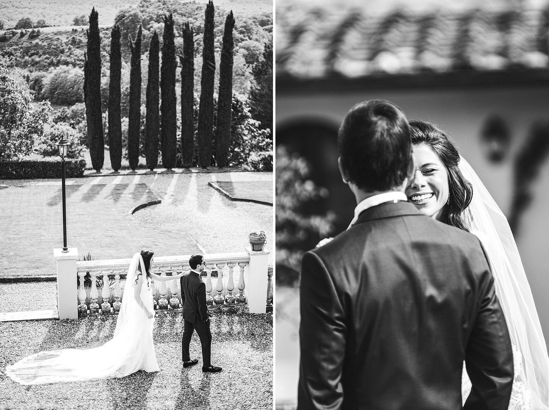Elegant and beautiful Dolce Vita Style destination wedding in Tuscany at the historic estate of Villa La Selva Wine Resort. Bride and groom first look just before the outdoor ceremony