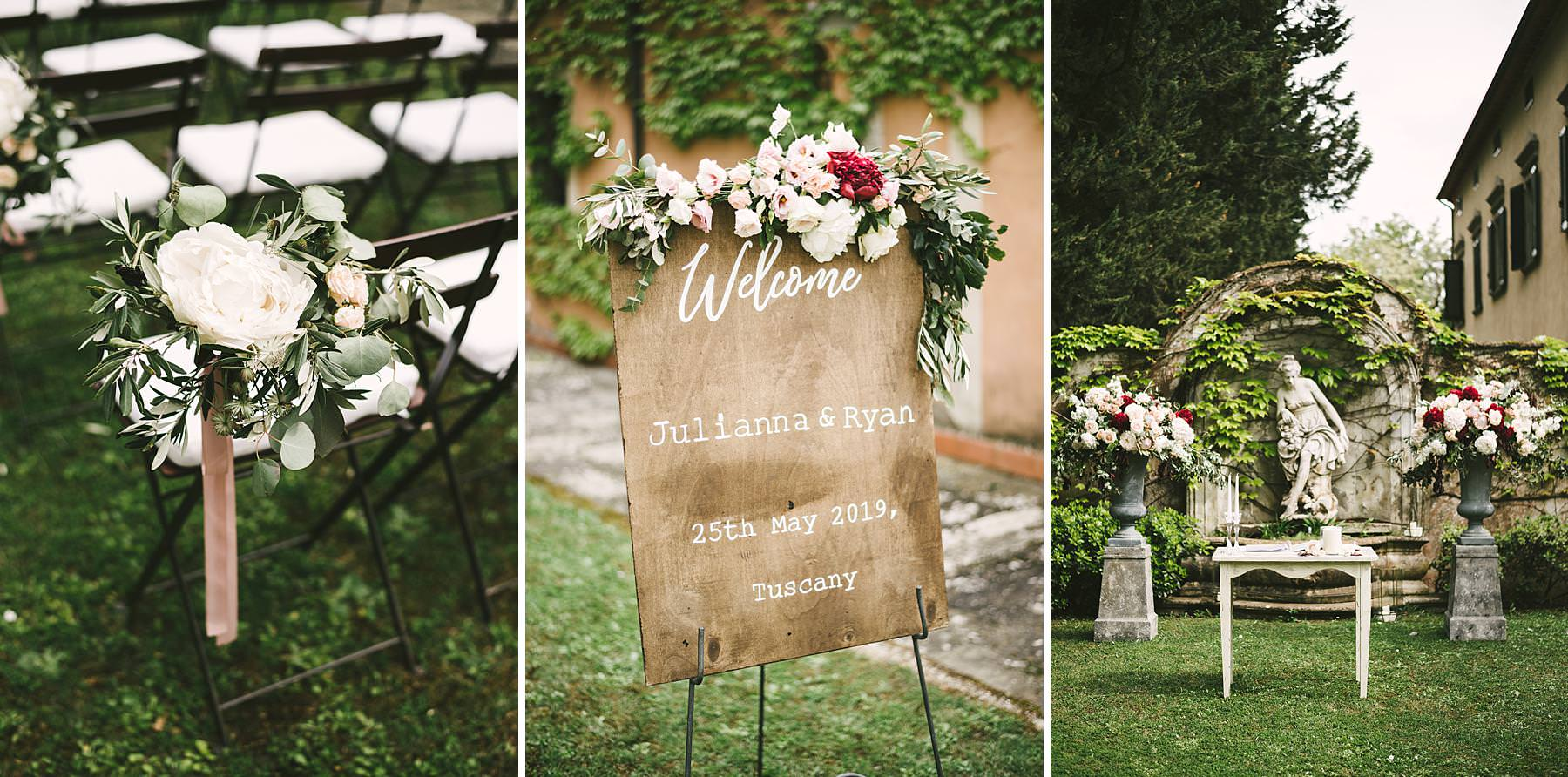 Elegant and beautiful outdoor destination ceremony decor by Flowers Living and Italian Wedding Designer planning agency