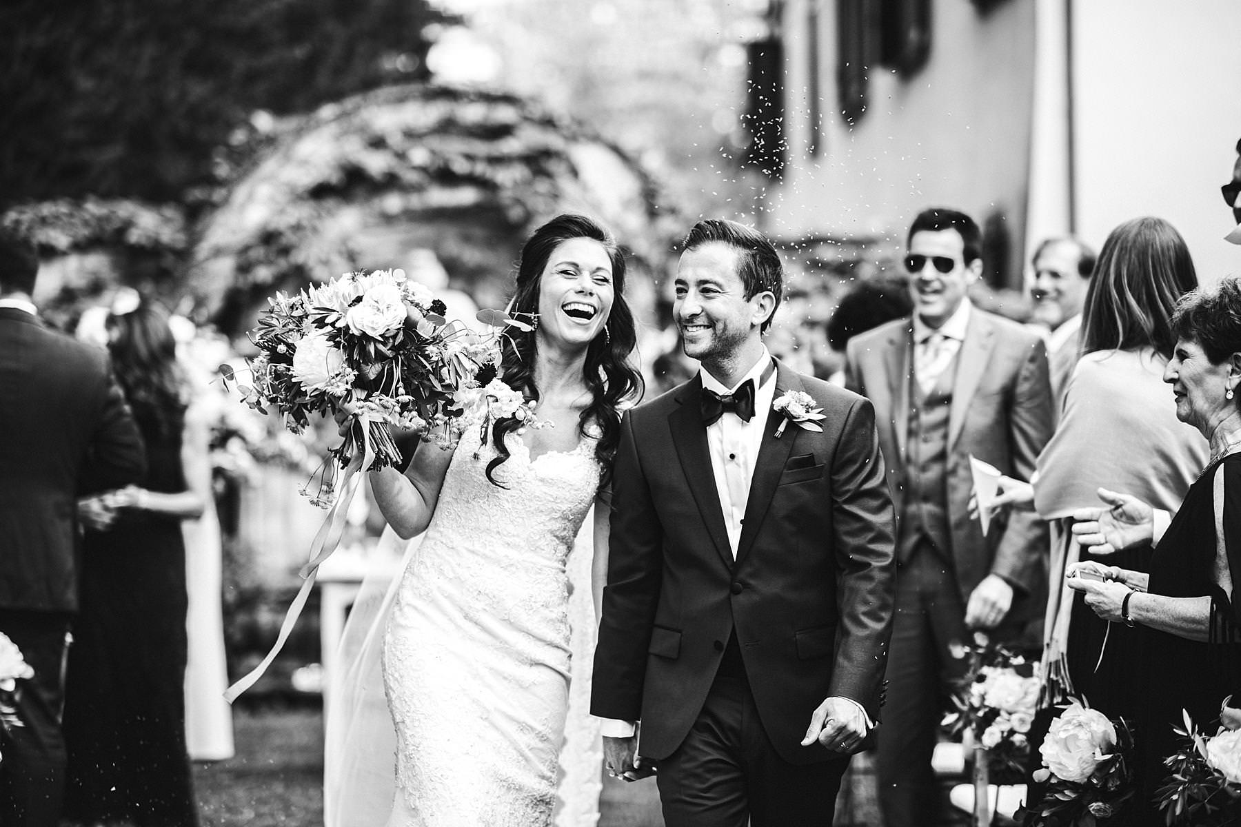 Bride and groom are just married! Charming and exciting destination wedding in Tuscany countryside at Villa La Selva Wine Resort venue