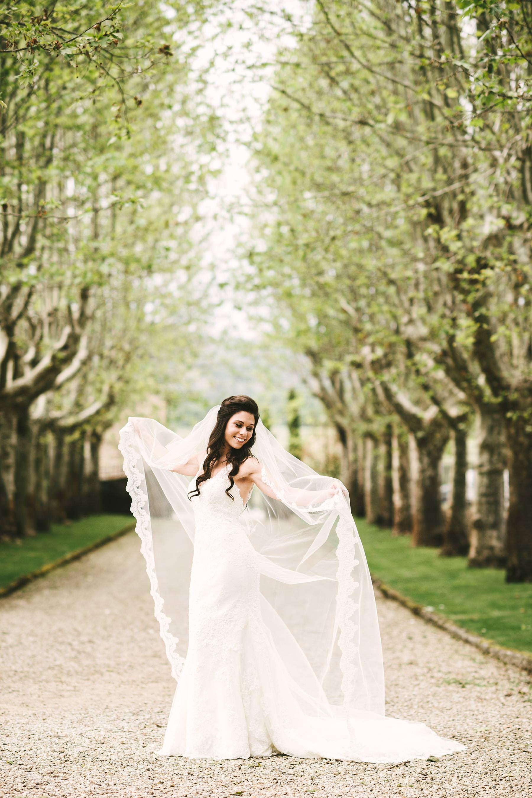 Beautiful bride Juliana in Pronovias wedding gown at Villa La Selva Wine Resort