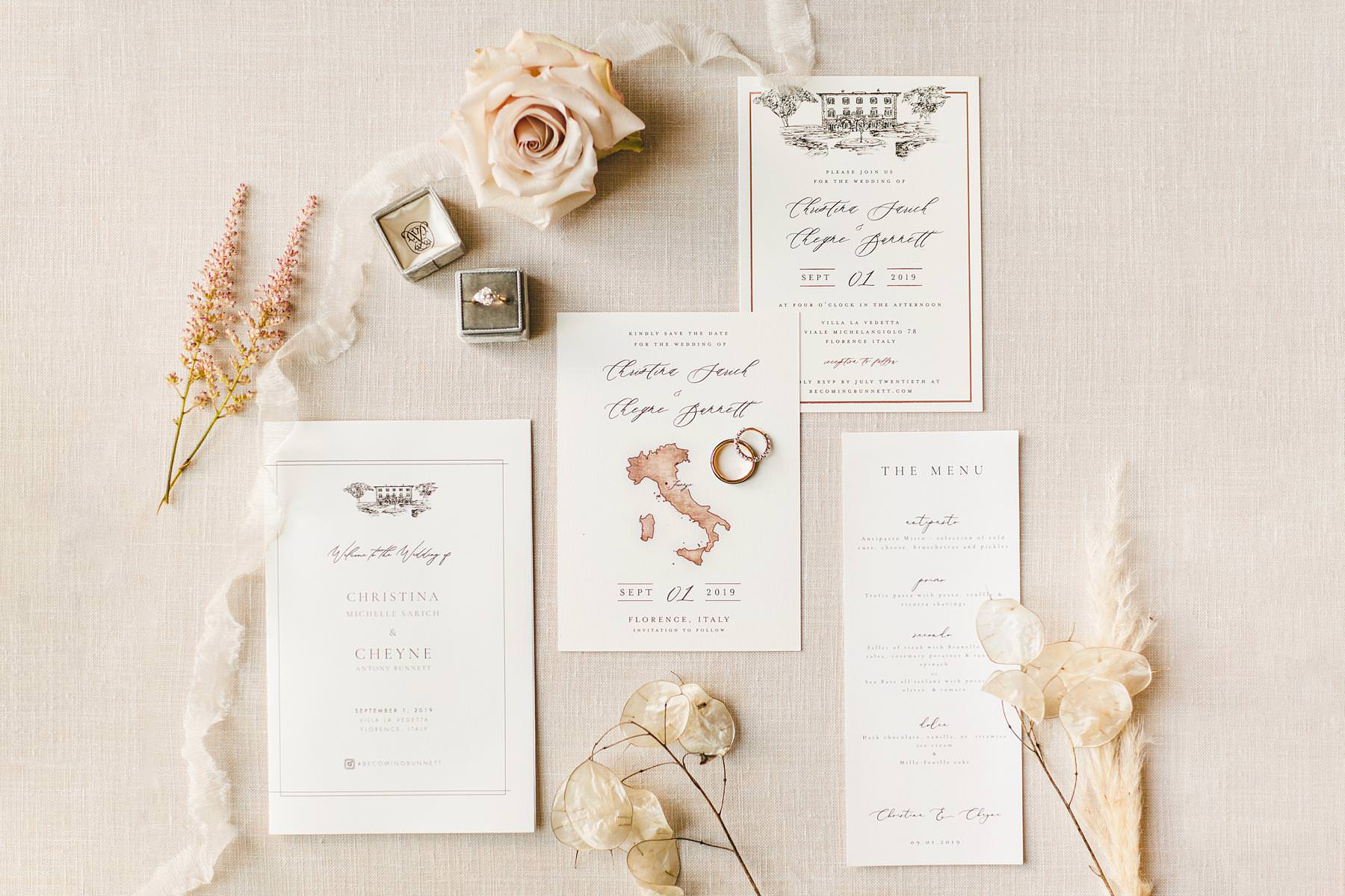 Celebrate the most important day of your life at Villa La Vedetta, Florence. Elegant destination wedding stationery details