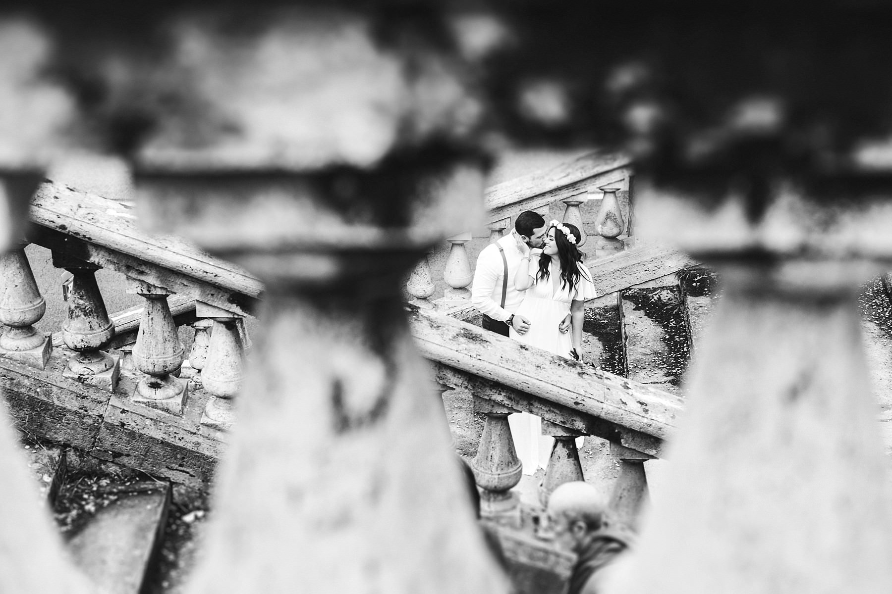 Creative and modern elopement wedding portrait in Florence. Happiness and love is in the air