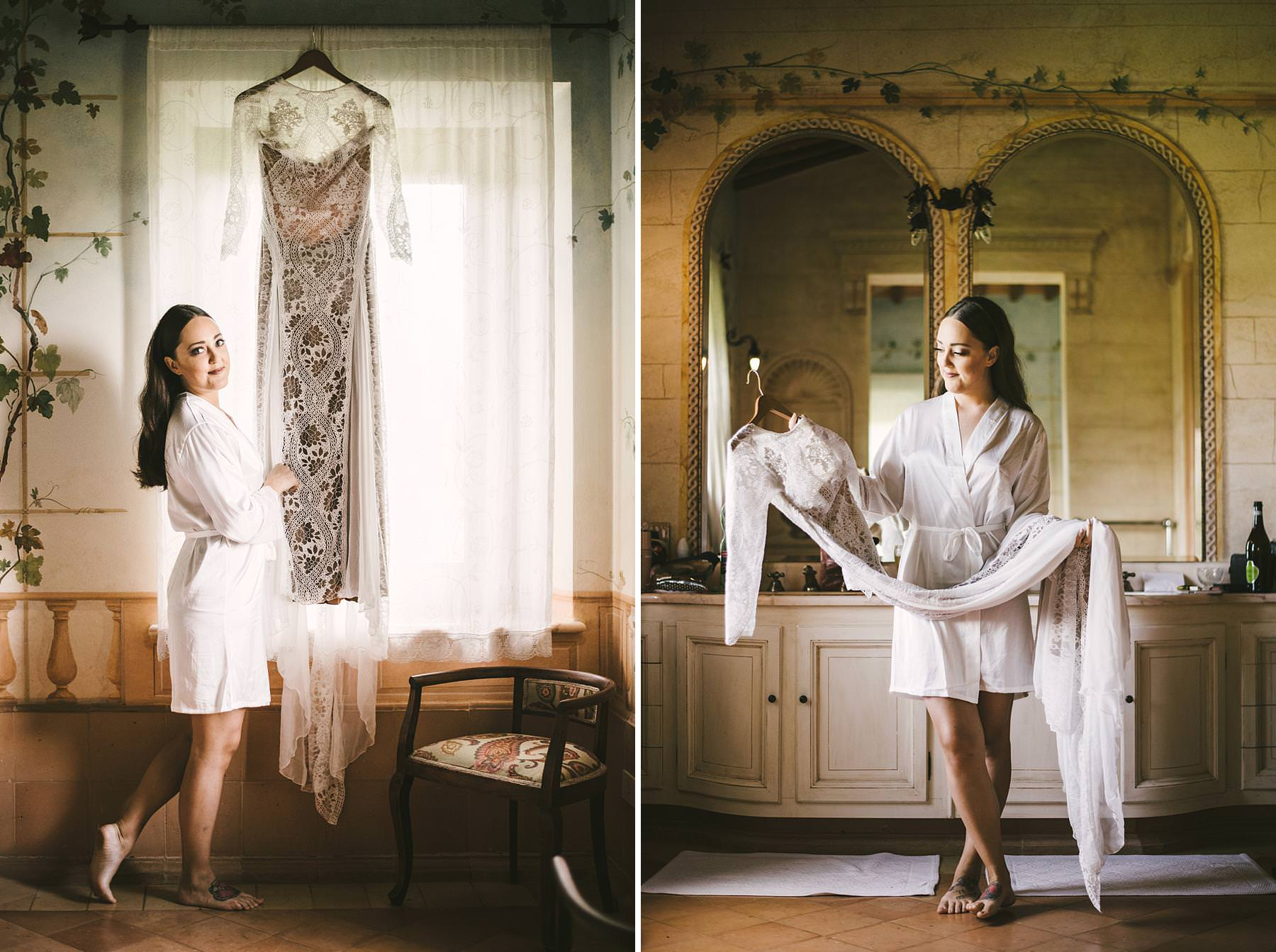 Lovely bride and Grace Loves Lace wedding gown at Villa l'Antica Posta. Elegant destination wedding in Umbria