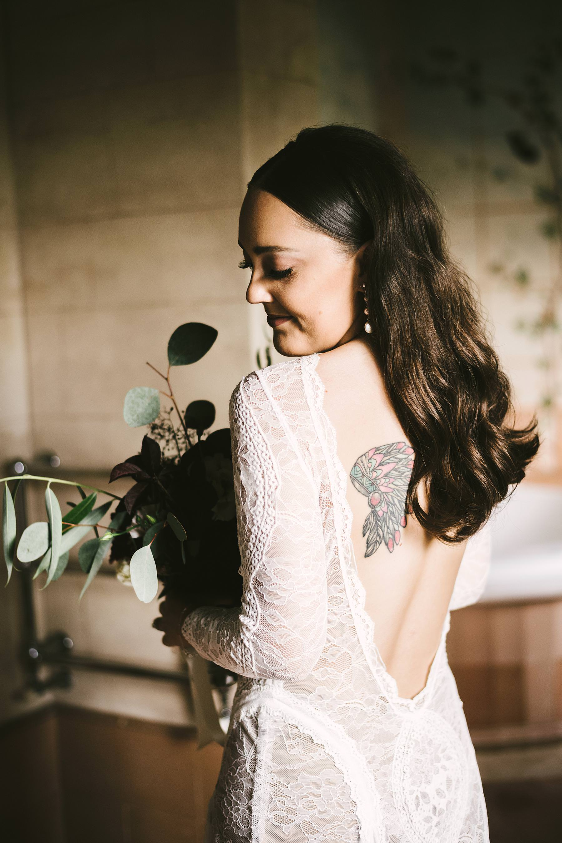 Elegant bride Holly in gorgeous Grace Loves Lace wedding gown at Villa l'Antica Posta, Umbria. Charming and unforgettable intimate destination wedding in Umbria