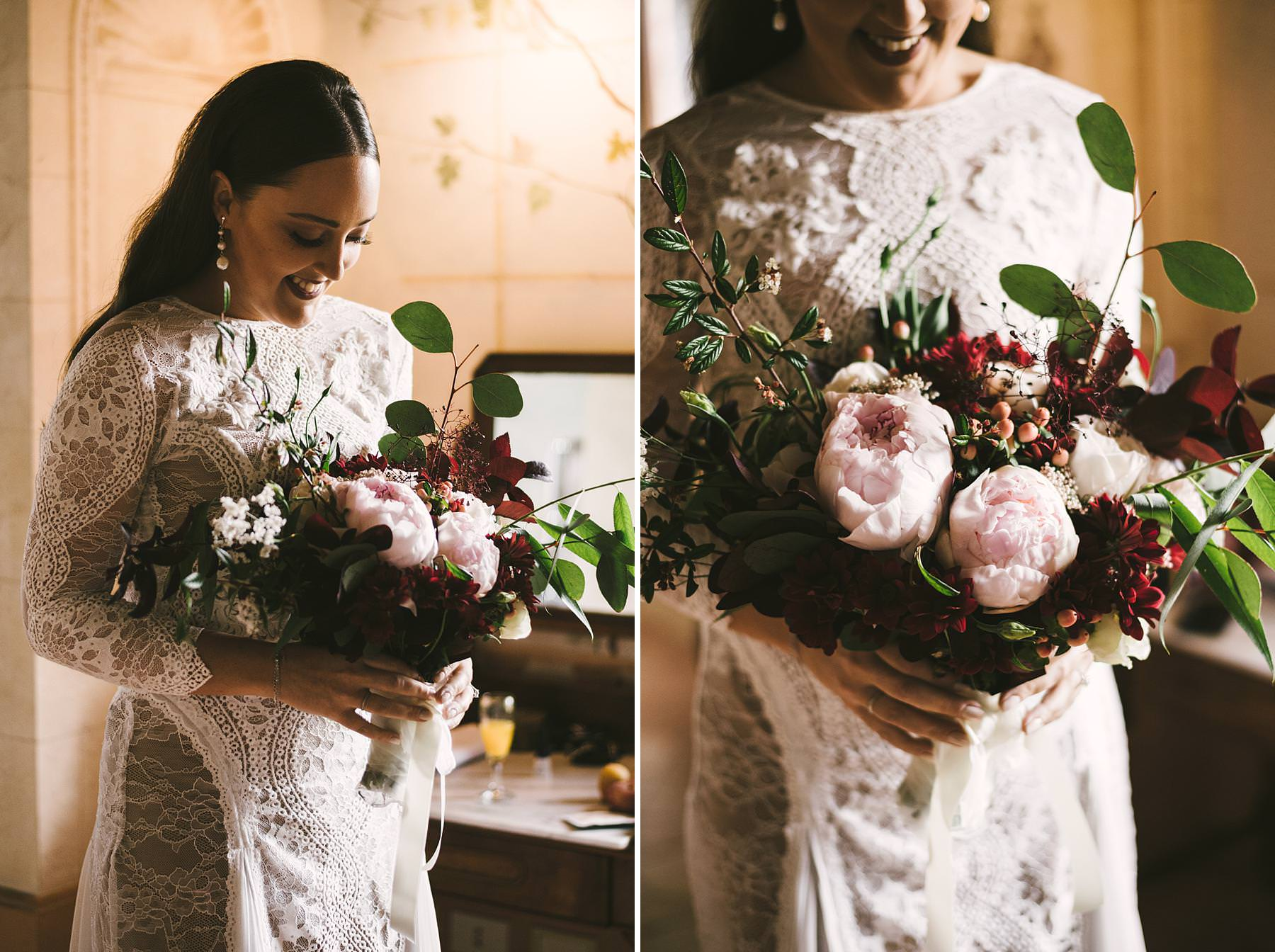 Elegant anche beautiful bride Holly in gorgeous Grace Loves Lace wedding dress at Villa lÕAntica Posta, Umbria. Charming and unforgettable intimate destination wedding in Umbria
