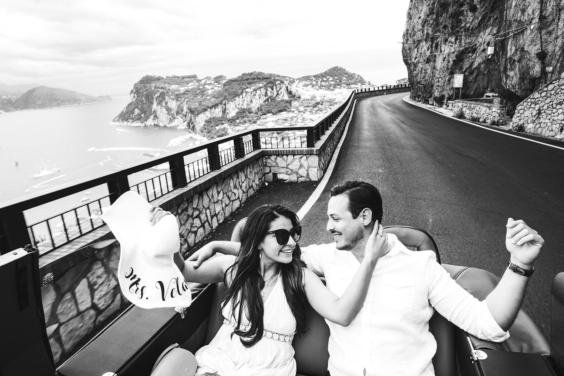 Exciting engagement pre-wedding photo tour in Capri with a private car
