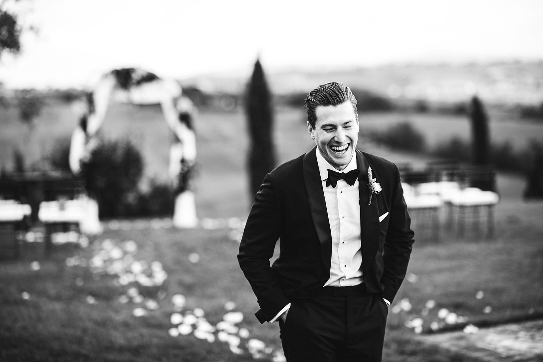 Gorgeous groom wedding photo at incredible venue Villa l'Antica Posta in Umbria