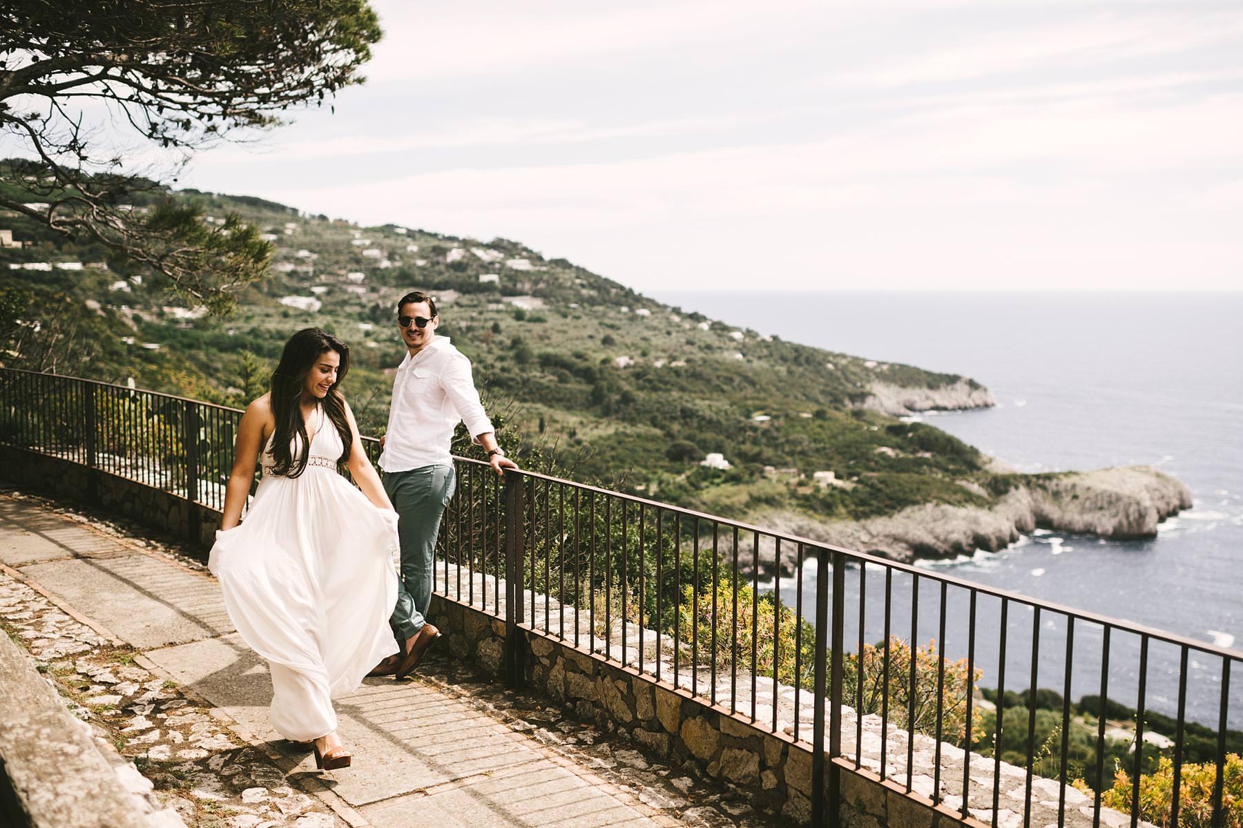 Intimate and romantic couple portrait engagement pre-wedding photo shoot in Capri