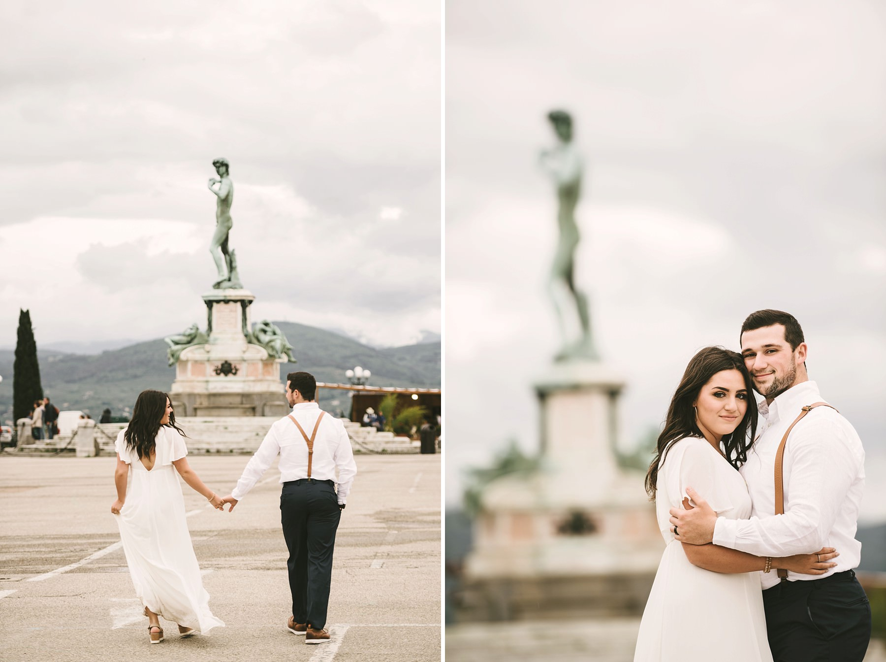 Elegant and romantic elopement wedding photo session at Piazzale Michelangelo in Florence