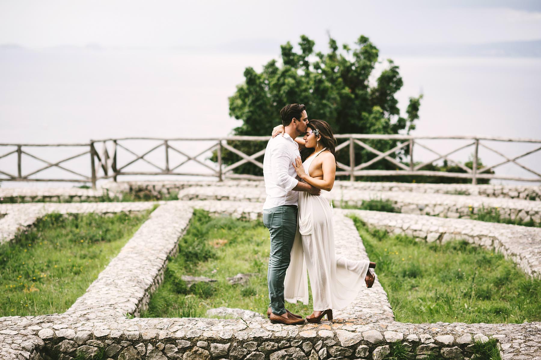 Elegant and intima pre-wedding couple portrait photo session in Capri