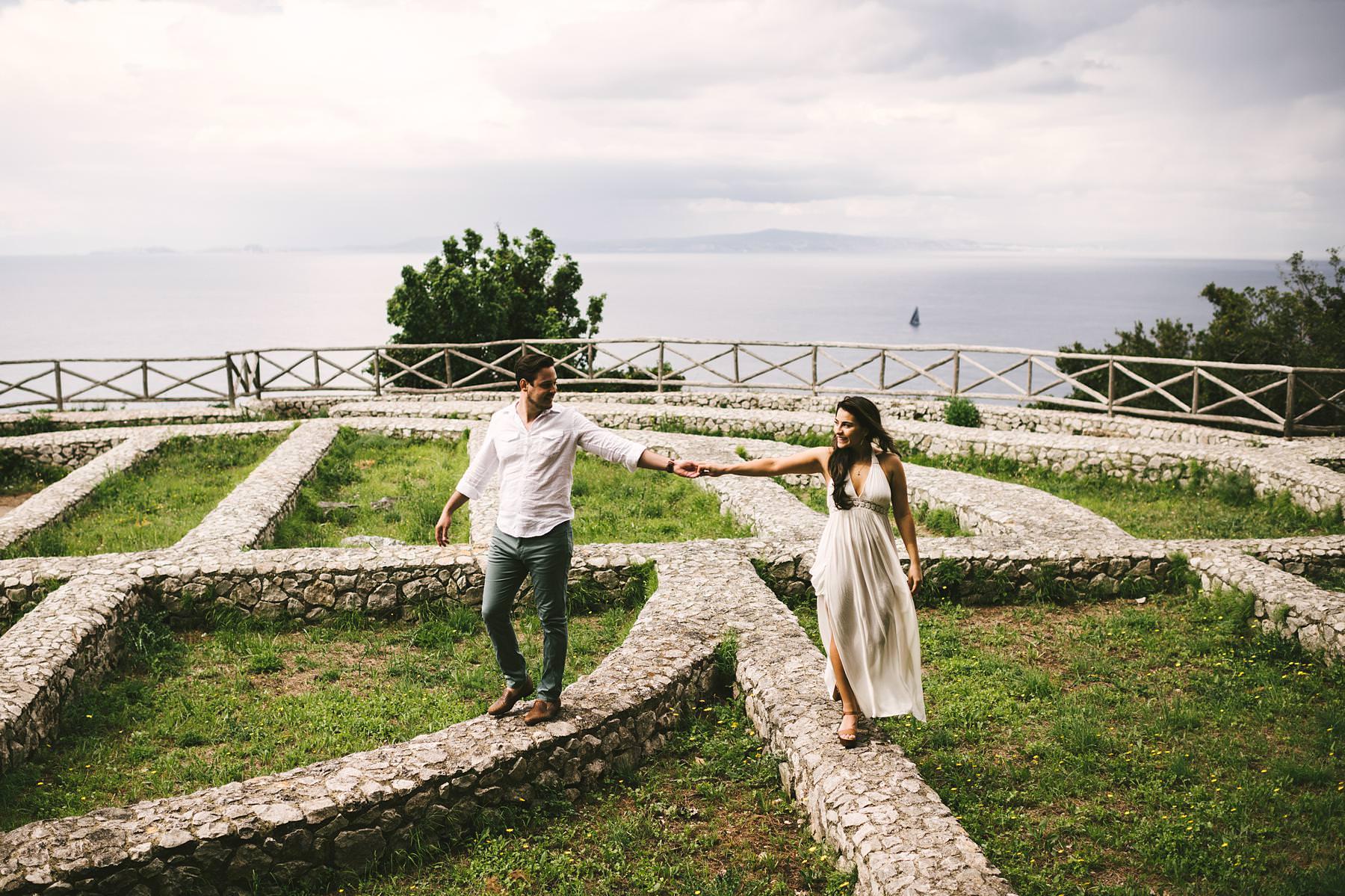 Exciting couple portrait engagement pre-wedding photo shoot in Capri
