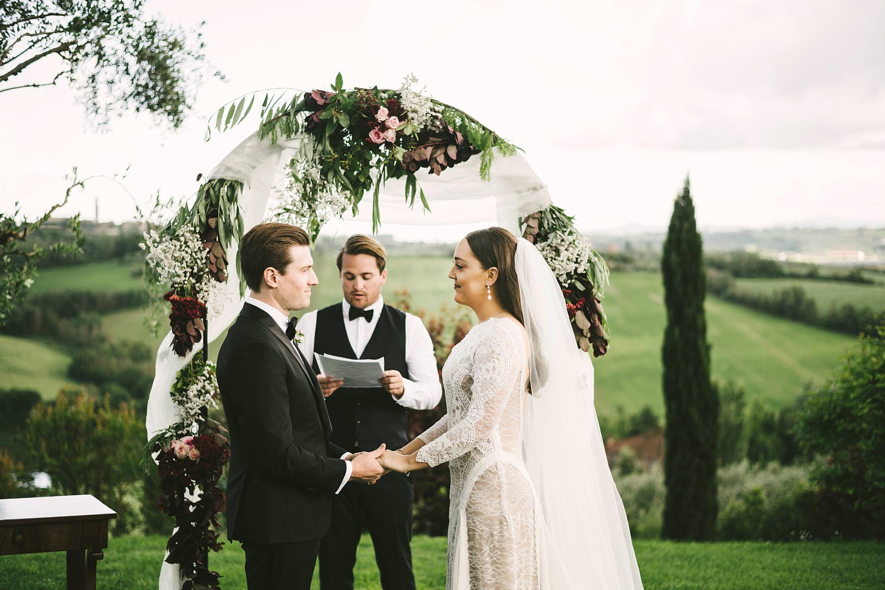 Outdoor intimate destination wedding in Umbria at Villa l'Antica Posta