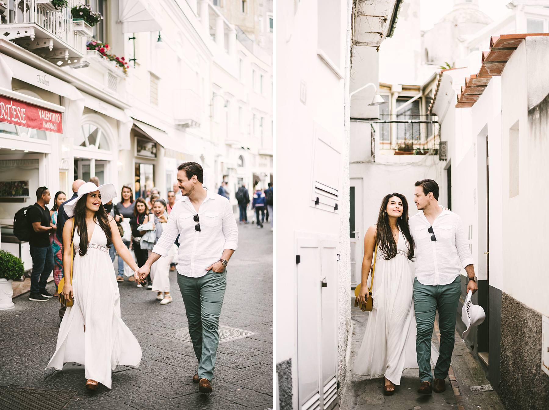 Dreamy and romantic couple portrait engagement photo tour in streets of Capri
