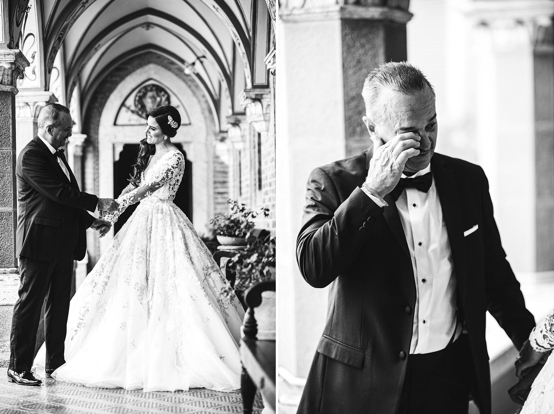 Emotional and elegant drive and father first look at Valenzano Castle near Arezzo. Bridel Ilyssa in a gorgeous Ysa Makino wedding dress