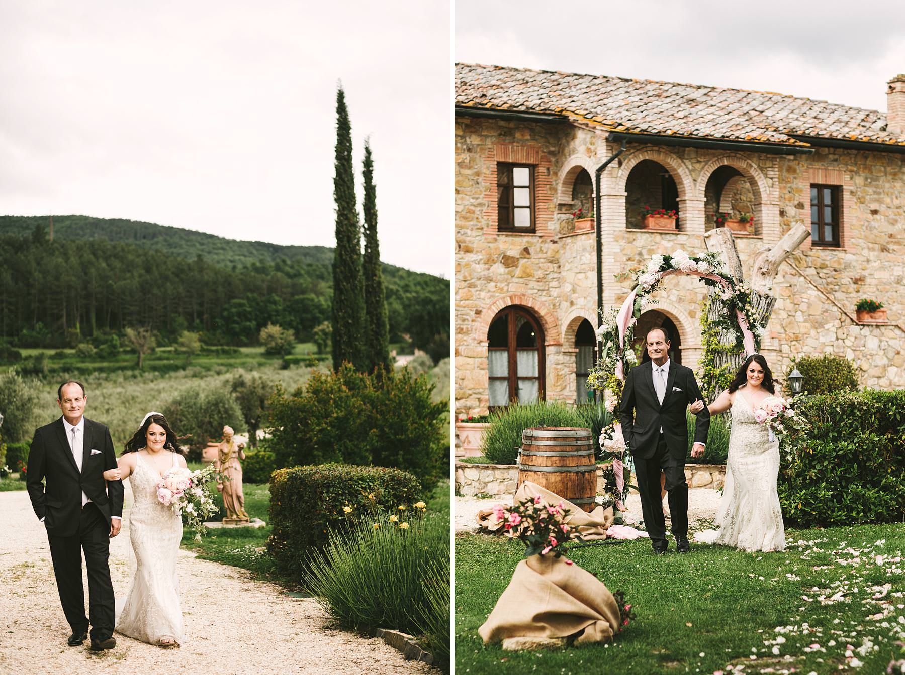 Lovely and emotional symbolic outdoor wedding ceremony at Villa Le Bolli venue near Radicondoli. Bride Hillary walks down the aisle with father