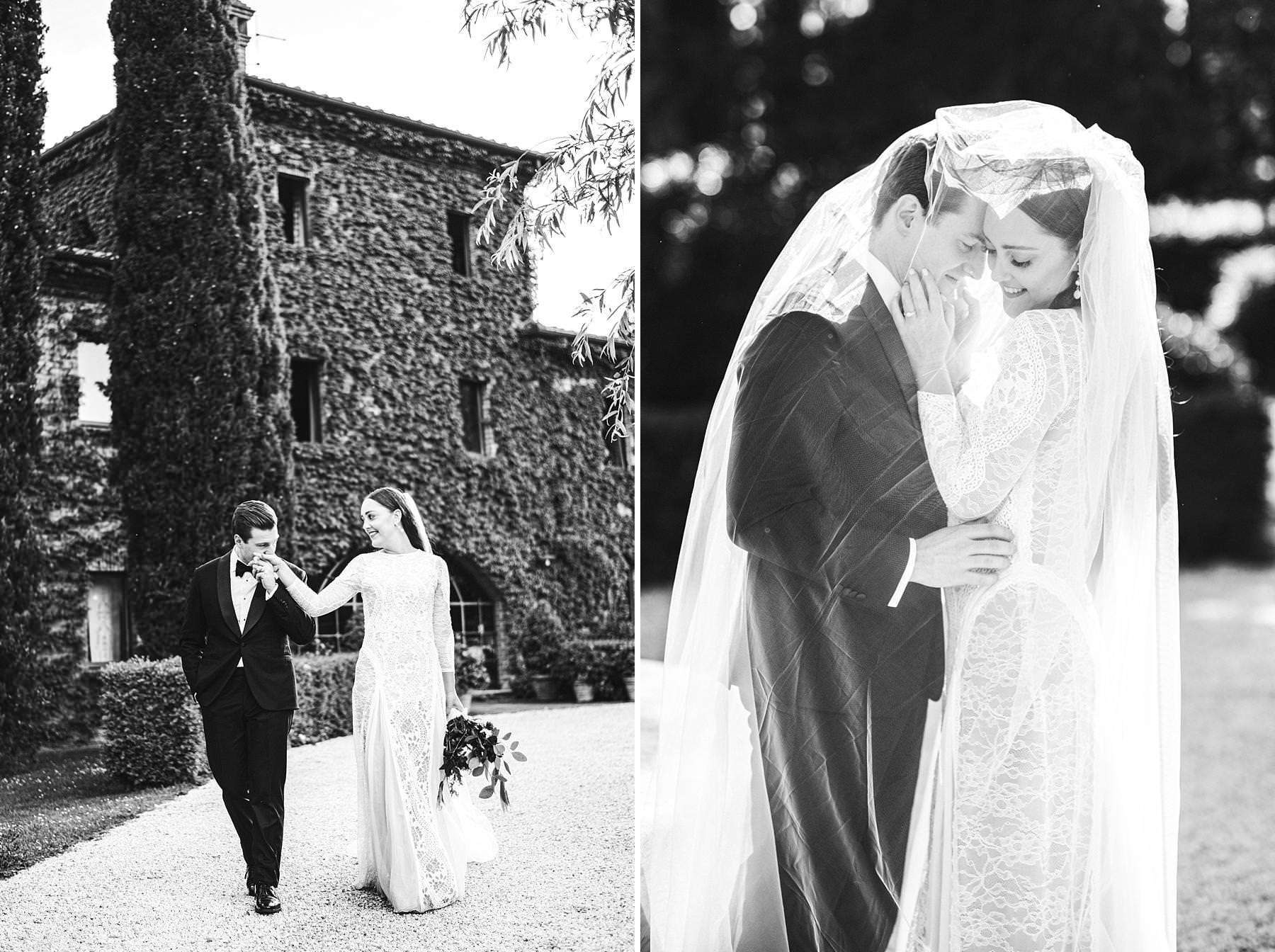 Destination wedding in Umbria at Villa l'Antica Posta, elegance and fun in a nutshell. Lovely and delicate intimate wedding portrait. Bride in Grace Loves Lace gown
