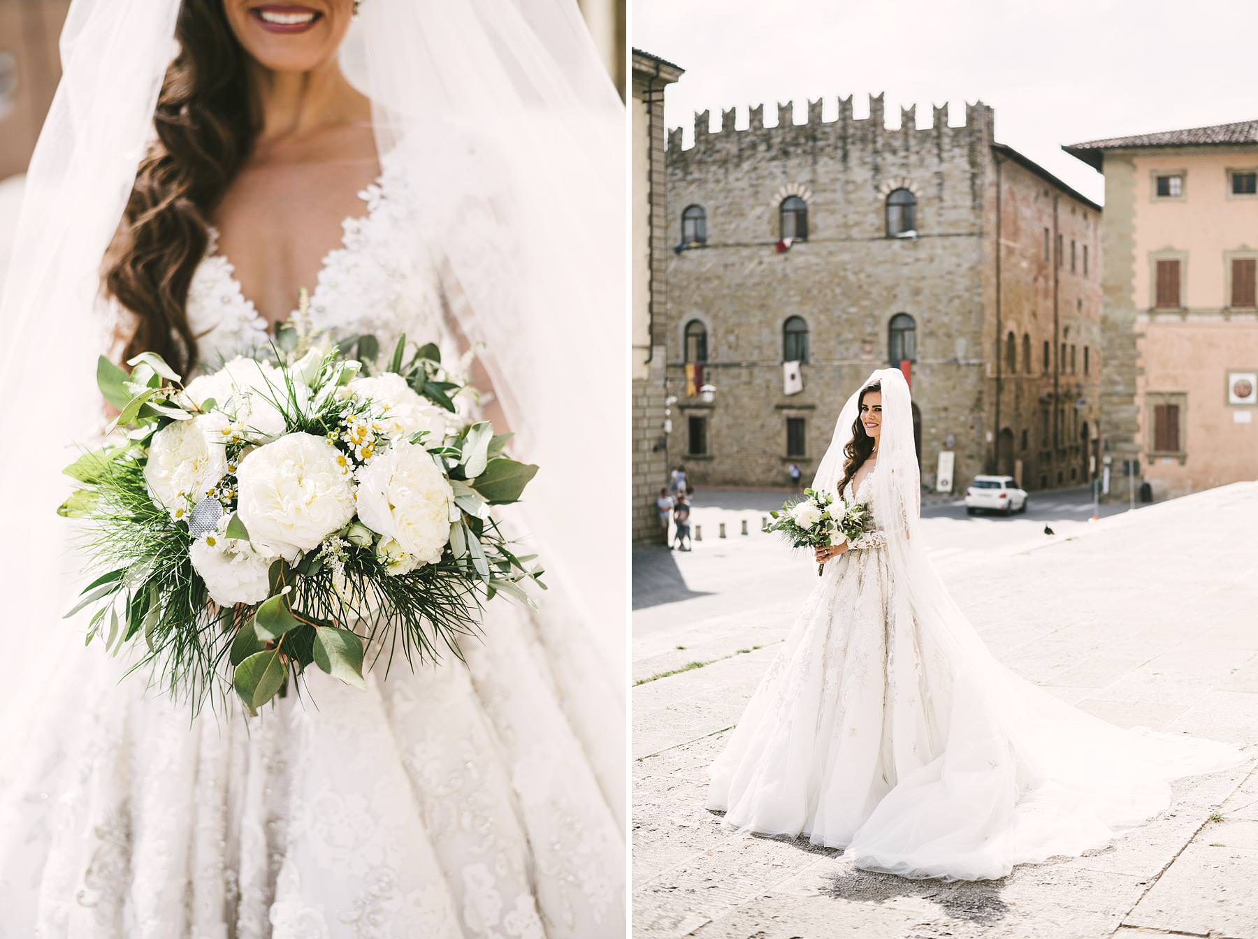 Beautiful bride Ilyssa in Ysa Makino elegant gown just ready for the wedding ceremony at Arezzo Cathedral