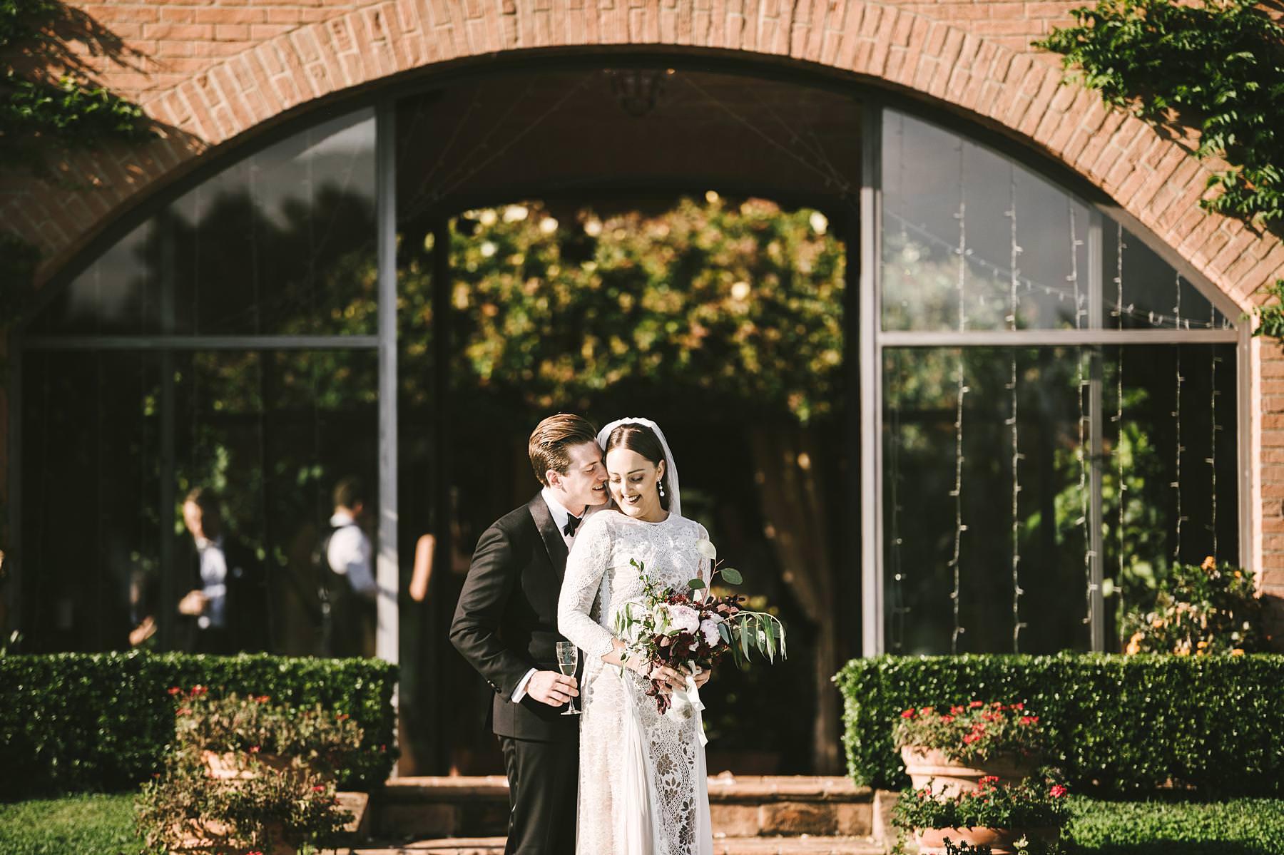 Bride and groom wedding portrait. Elegant intimate destination symbolic wedding in Umbria