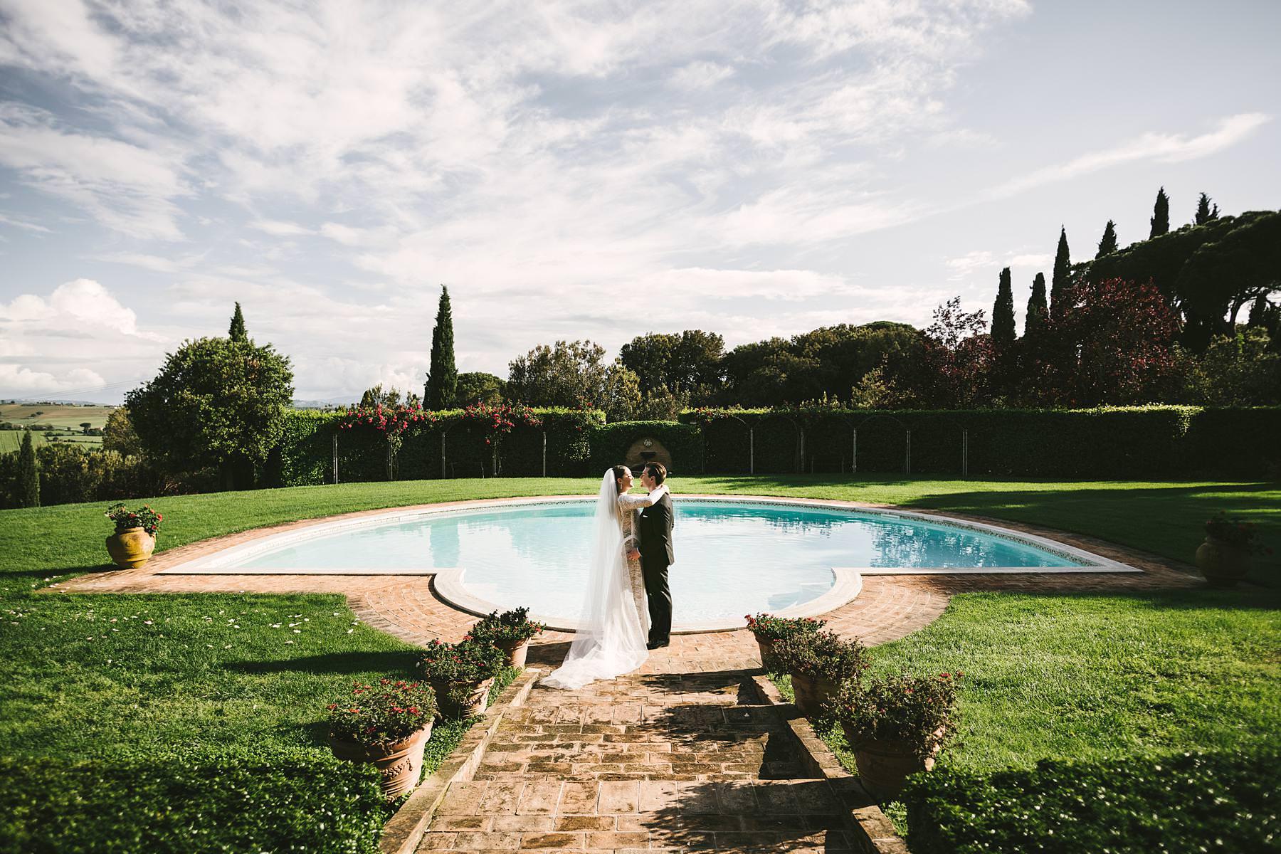 Bride and groom wedding portrait. Elegant intimate destination symbolic wedding in Umbria at Villa l'Antica Posta