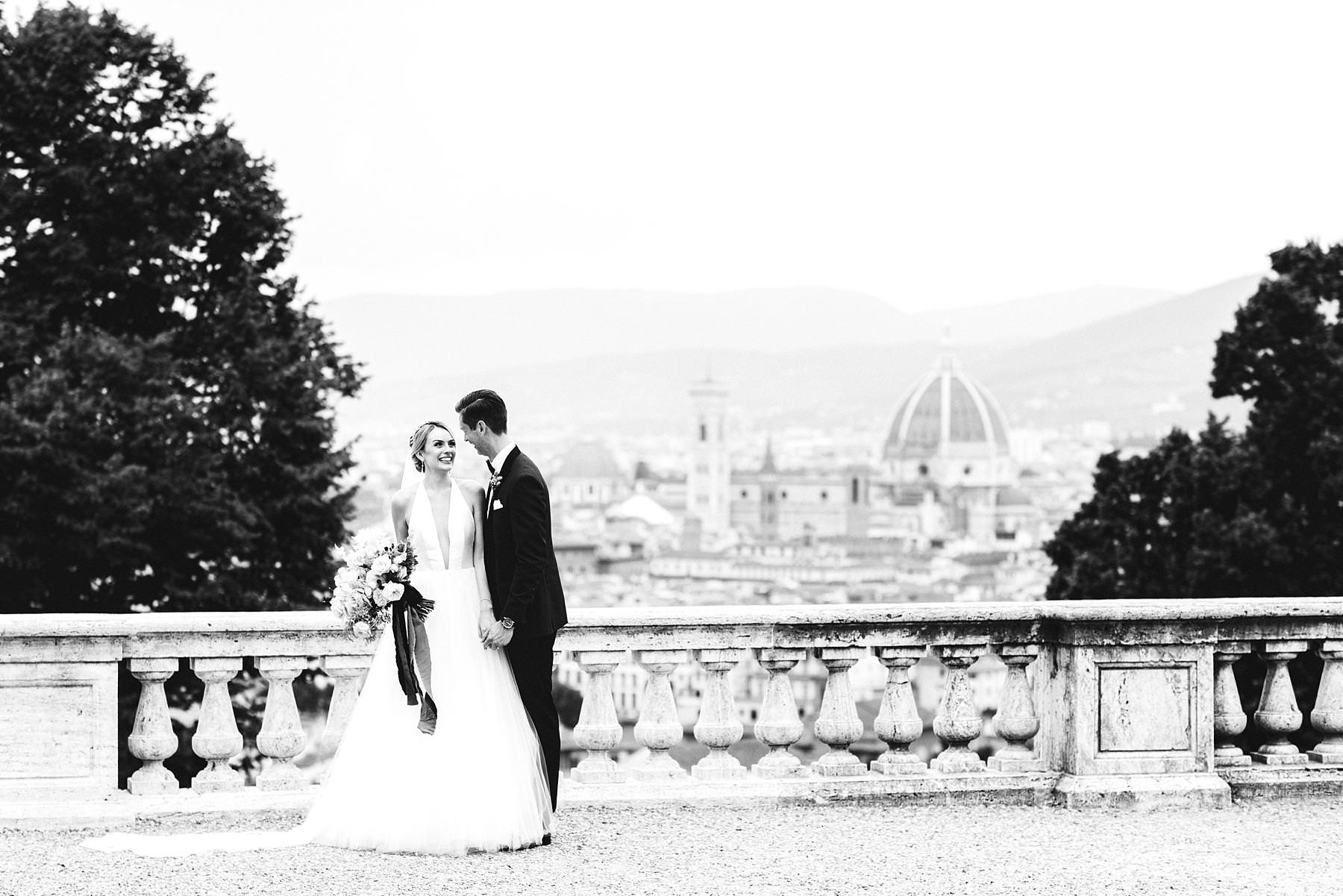 Lovely bride and groom portrait at San Miniato al Monte which make their luxury wedding reportage even more unique