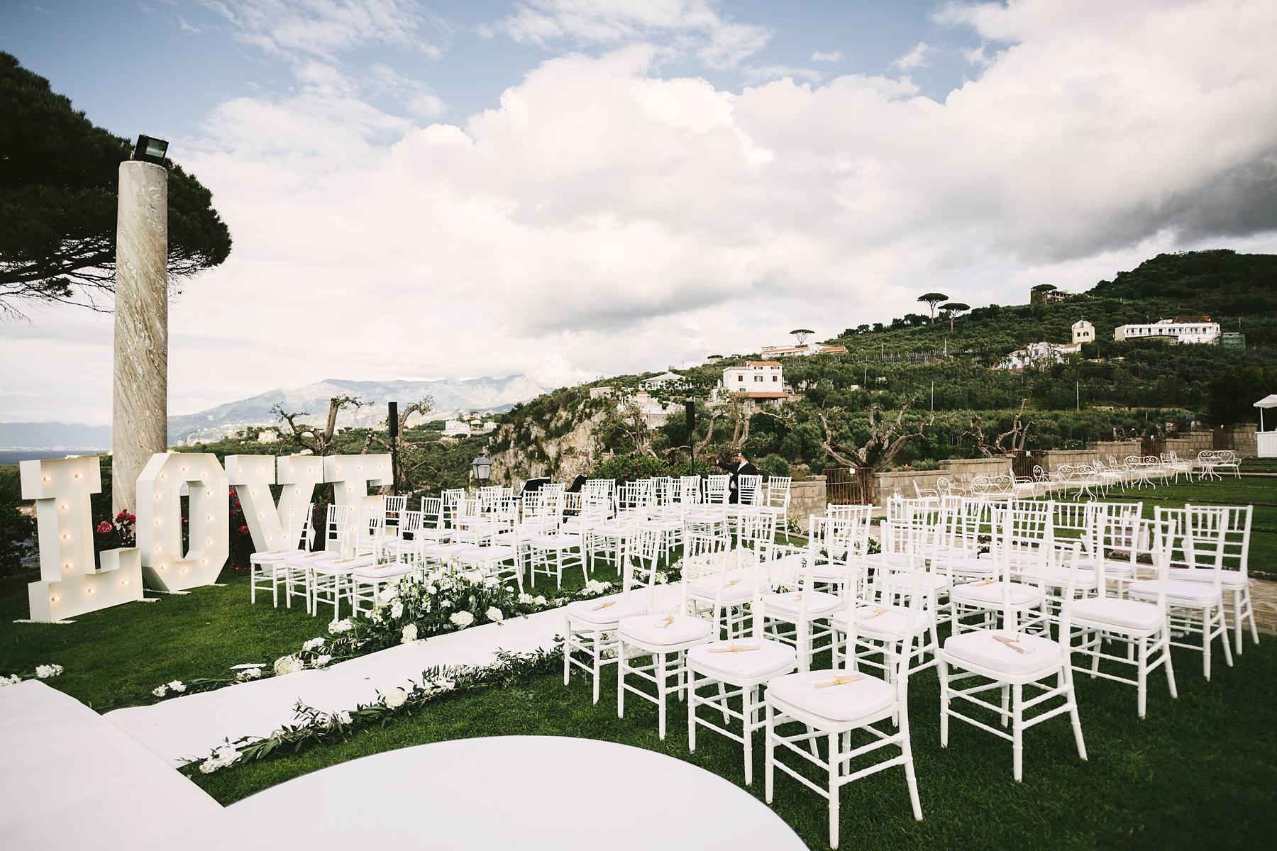 Beautiful and elegant outdoor ceremony decor at Villa Angelina terrace in Sorrento
