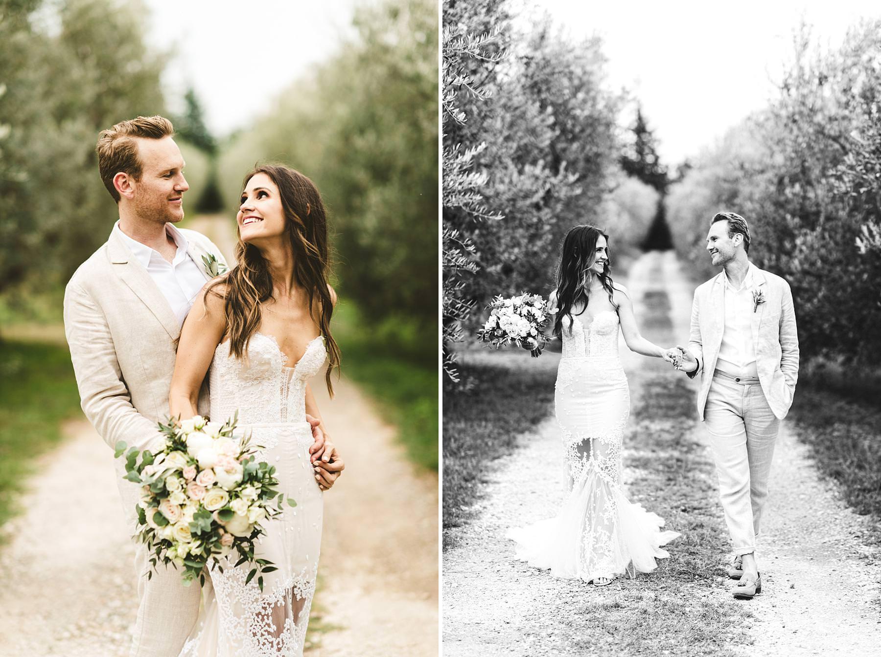 Bride and groom portrait in the countryside of Tuscany in Chianti area near the Villa Il Poggiale venue