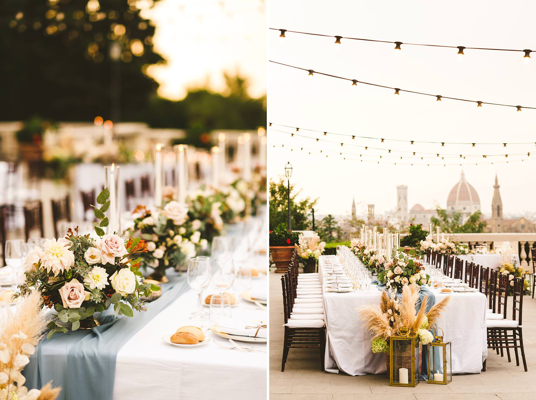 Luxury wedding with amazing view at Villa La Vedetta in Florence. Intimate luxury destination wedding dinner decoration by Stiatti Fiori and Villa La Vedetta. Every details was spotless and delightful, contributing to creating the luxury wedding bride and groom had been dreaming of
