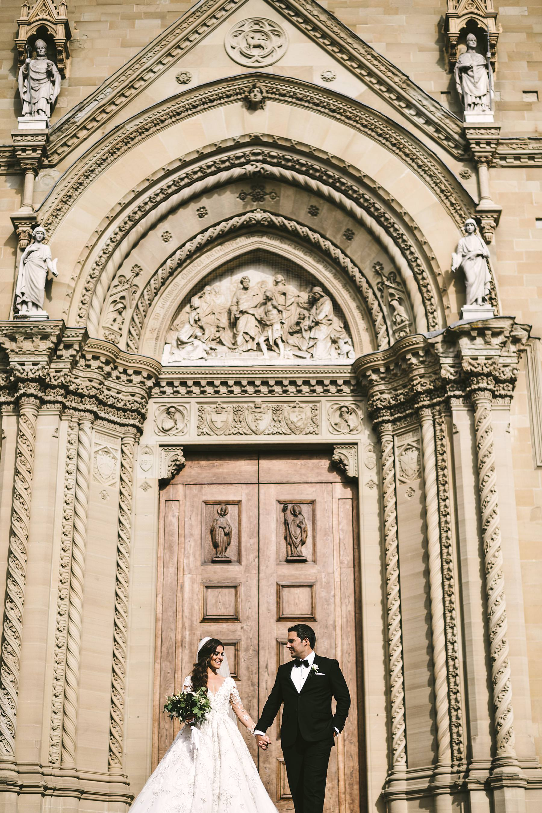 Elegant bride Ilyssa and groom Alex portrait session in Arezzo at Cathedral. Destination wedding in Tuscany at Arezzo and Valenzano Castle