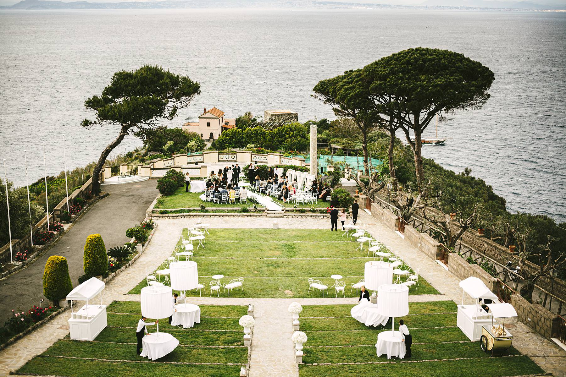 Amazing outdoor emotional and elegant destination wedding ceremony in Sorrento at Villa Angelina terrace
