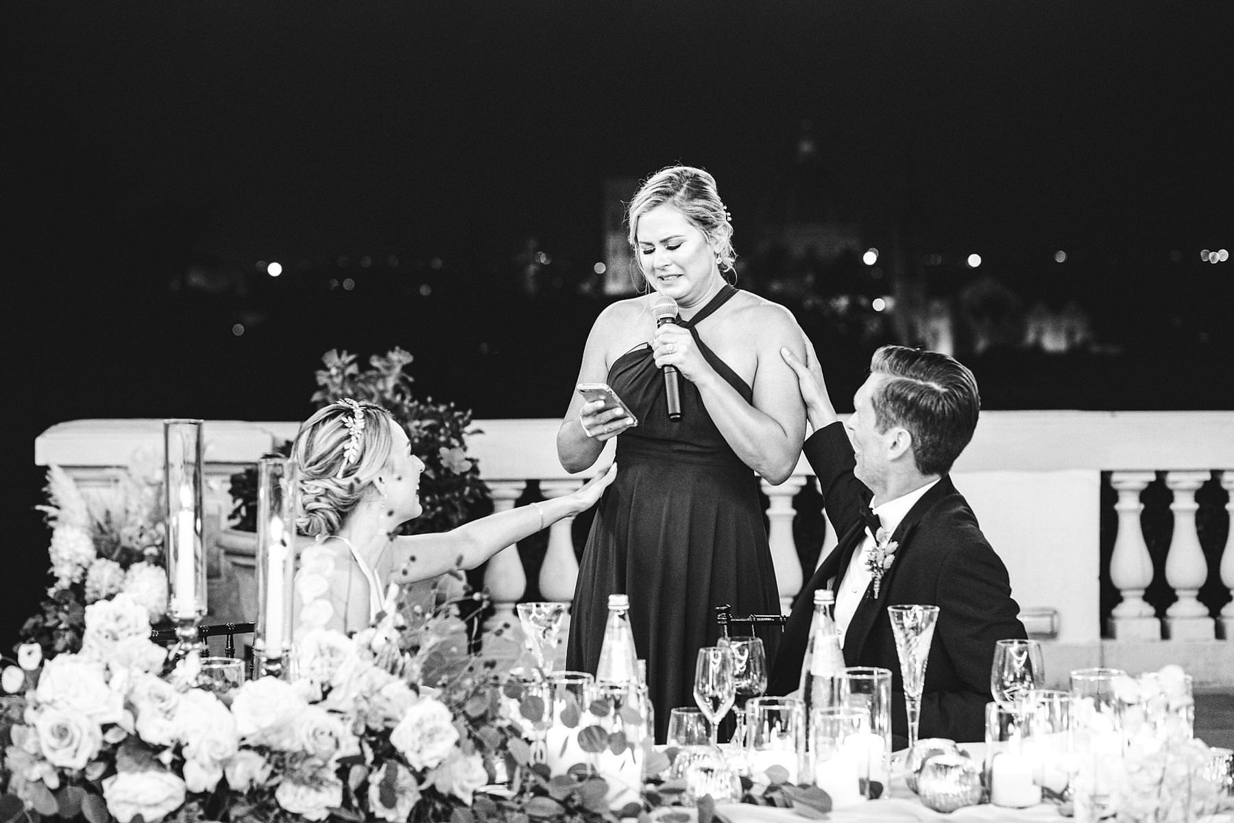Emotional speech at wedding reception at Villa La Vedetta, Florence