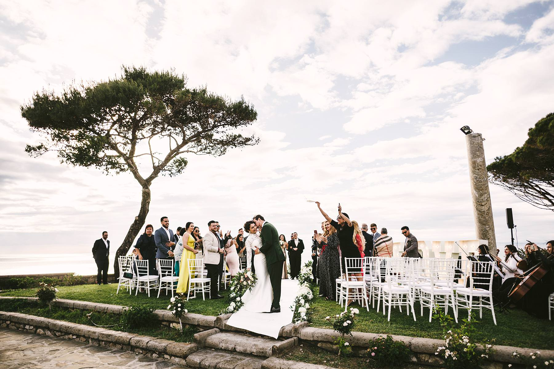 Bride and groom Steffany and Joel are just married. Destination wedding in Sorrento at Villa Angelina terrace