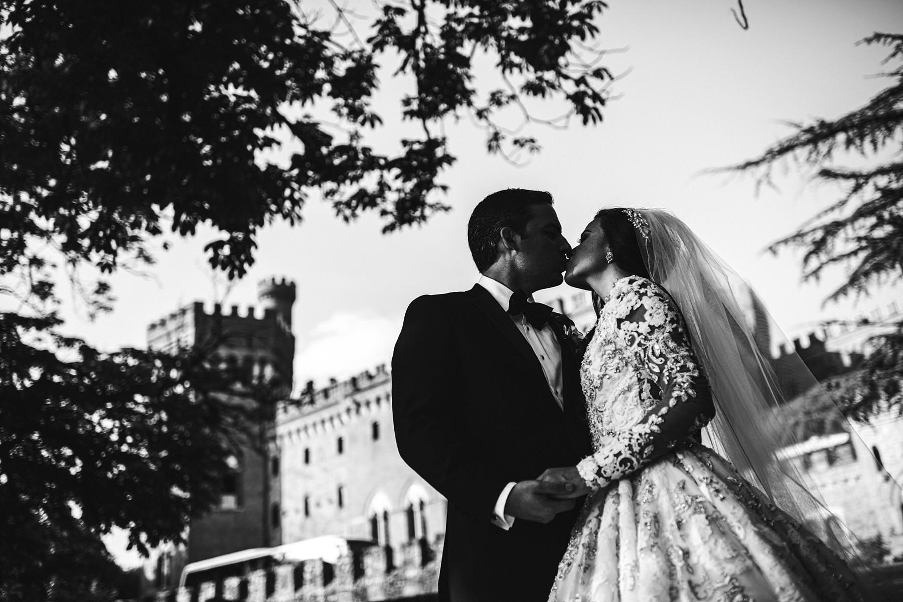 Bride and groom portrait at Valenzano Castle in Tuscany near Arezzo