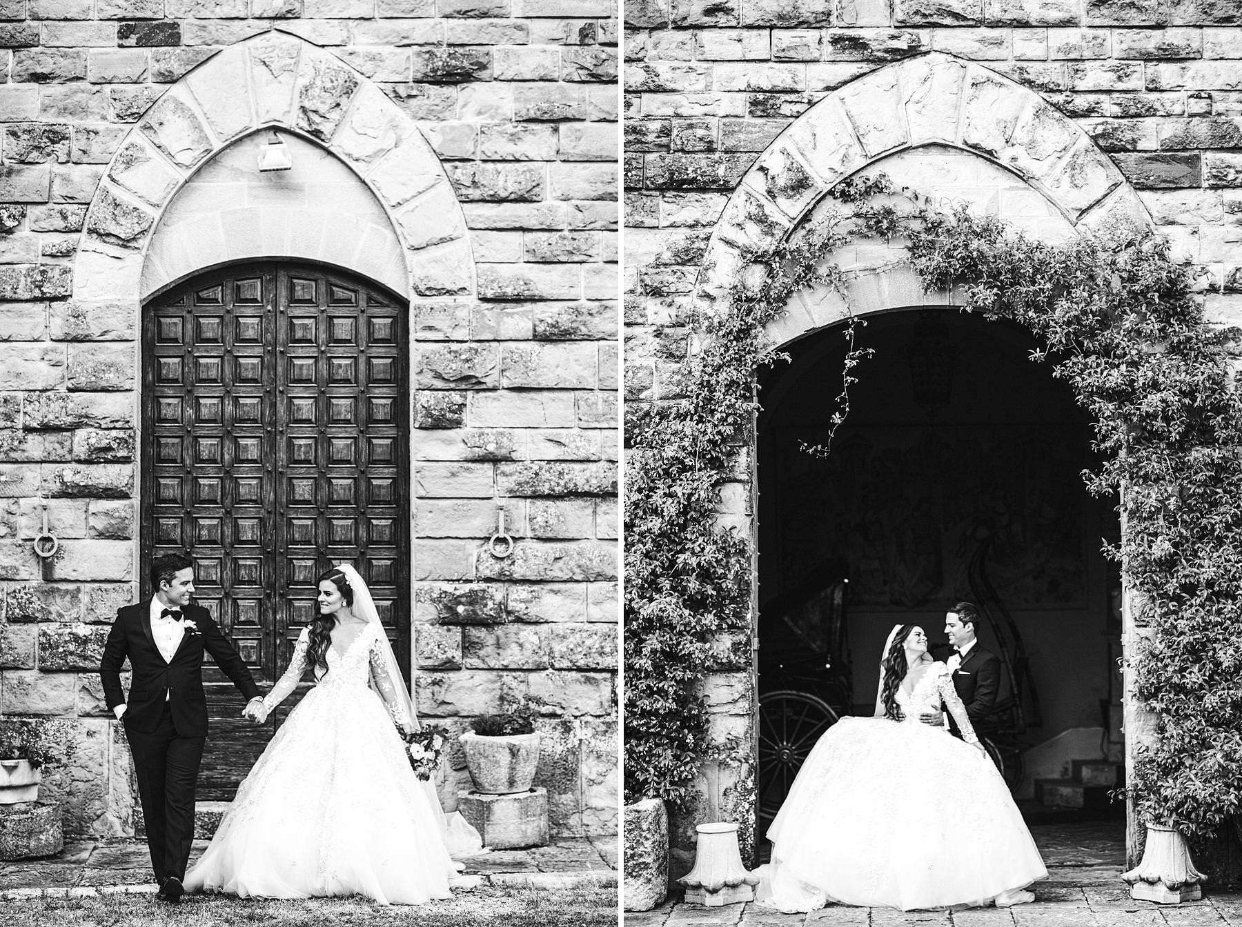 Castle destination wedding in Tuscany countryside at Valenzano near Arezzo