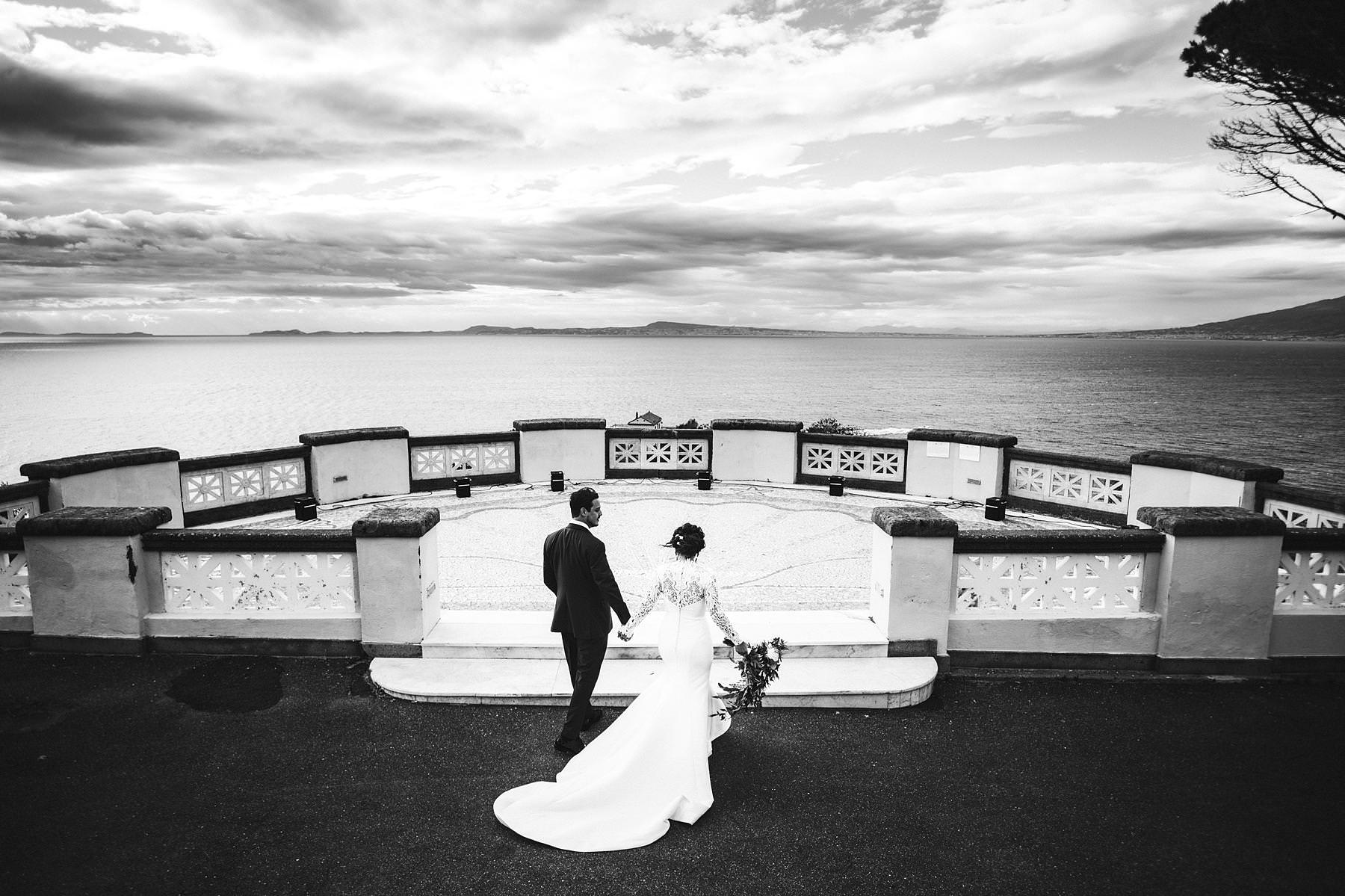 Unforgettable and beautiful bride and groom portrait in Sorrento at Villa Angelina terrace