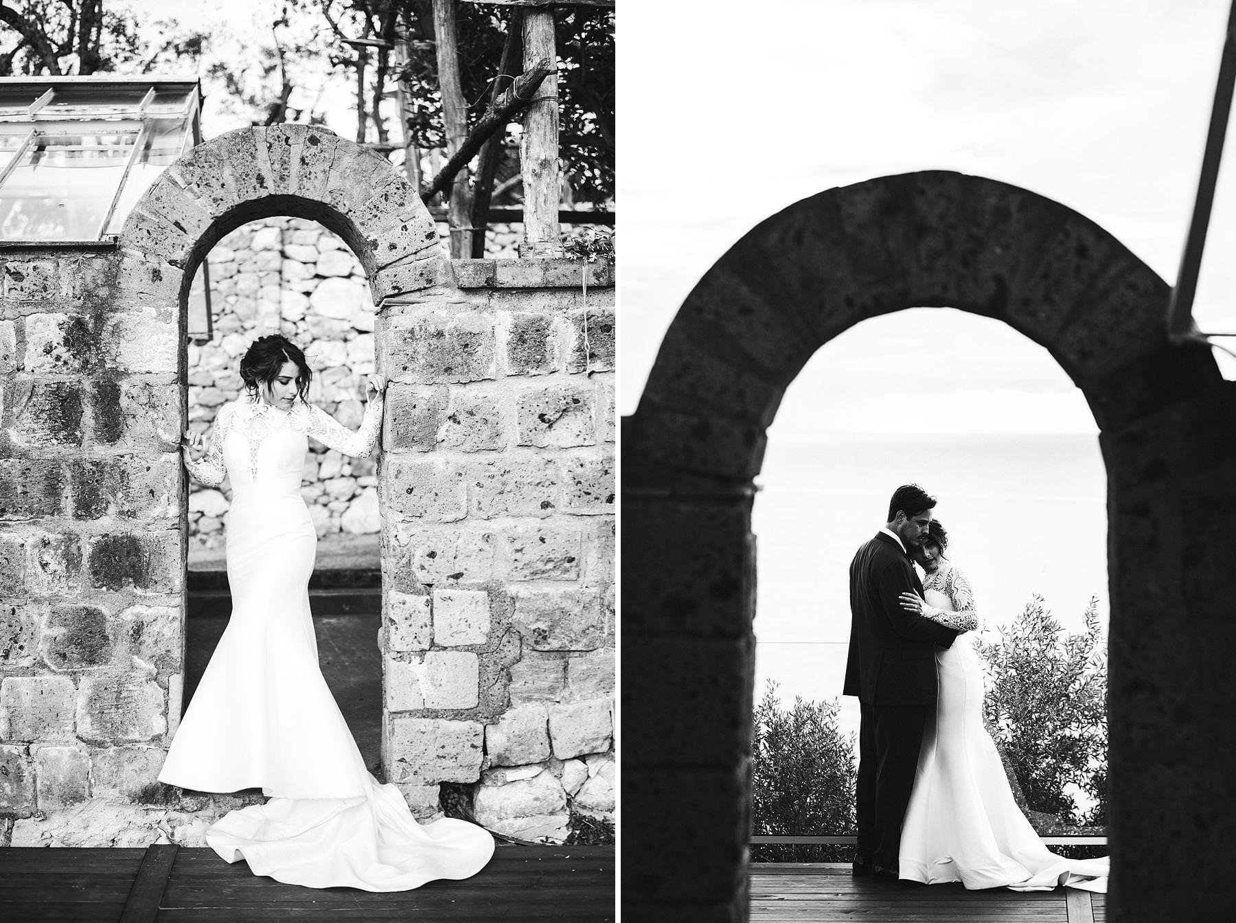 Lovely and elegant bride and groom wedding portraits in Sorrento at Villa Angelina