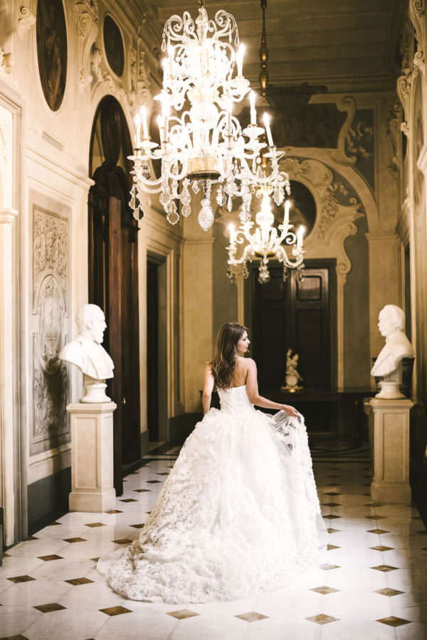 Luxury destination wedding in Florence at Hotel Four Seasons Florence. Bridal portrait in the foyer of the Gherardesca Palace